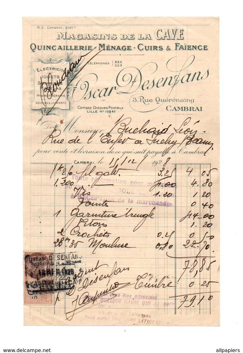 FactureMagasins De La Cave Quincaillerie - Ménage - Cuirs & Faience Oscar Desenfans à Cambrai En 1928 - 1900 – 1949