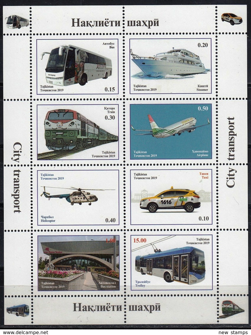 Tajikistan 2019 City Transport Bus Trolley Train Steamer Airplane Helicopter Minisheet MNH - Trains