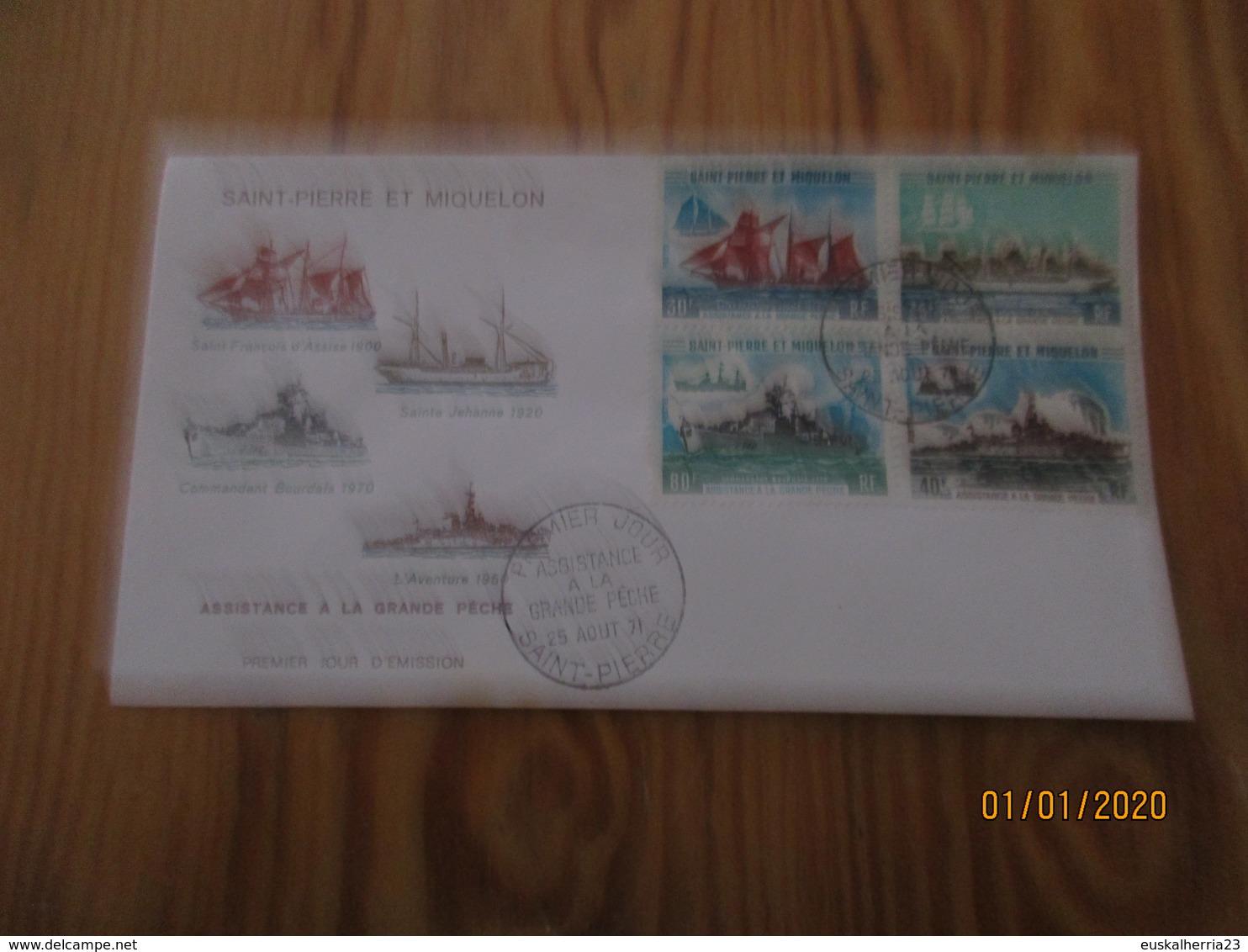 Enveloppe 1er Jour Saint-Pierre Et MiquelonAssistance à La Grande Pêche 1971 - FDC