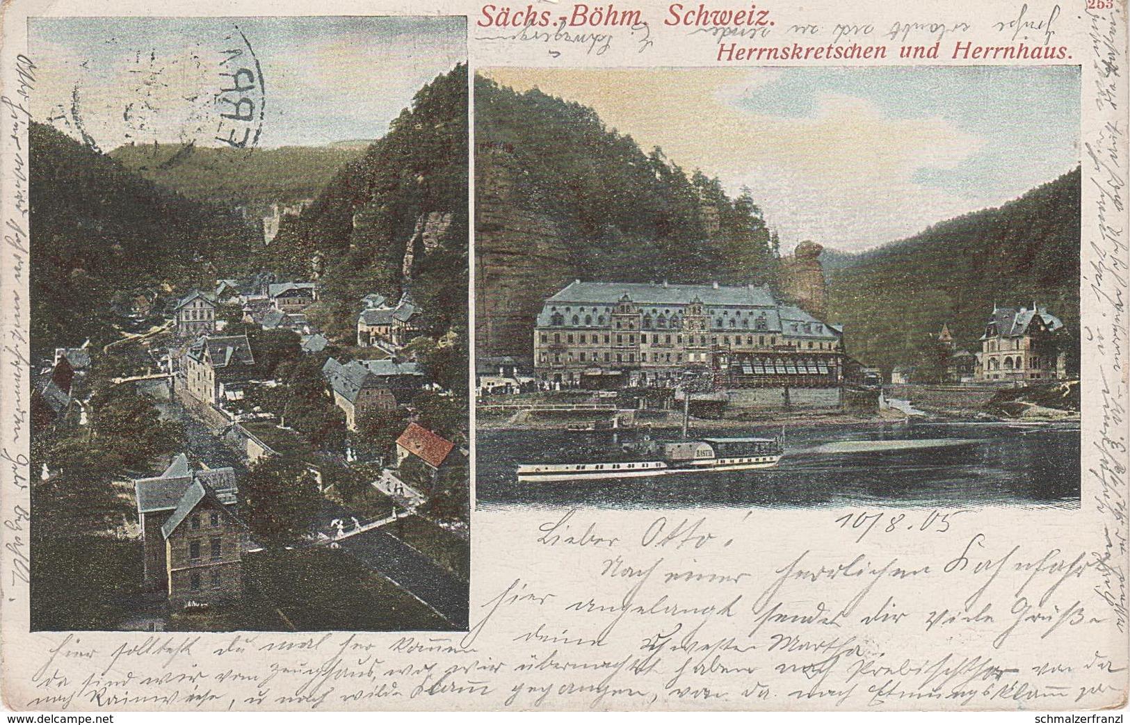 Litho AK Böhmische Schweiz Herrnskretschen Hrensko Herrnhaus Herrenhaus Dampfer Bastei Stempel A Jonsdorf Stimmersdorf - Sudeten