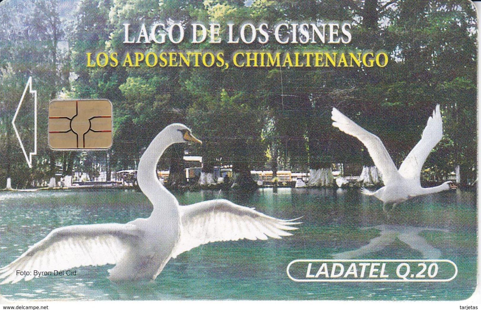 TARJETA DE GUATEMALA DE UNOS CISNES CHIP ROJO (BIRD-PAJARO-CISNE) - Guatemala