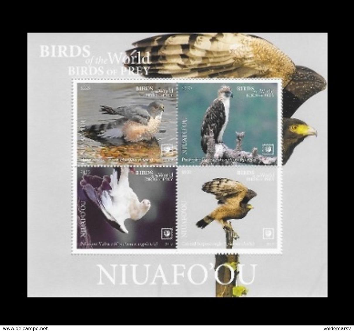 Tonga (Niuafo'ou) 2019 Mih. 739/42 (Bl.87) Fauna. Birds Of Prey (II) MNH ** - Tonga (1970-...)