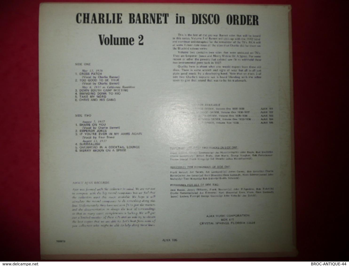 LP33 N°544 - CHARLIE BARNET IN DISCO ORDER - VOL.2 -  COMPILATION 12 TITRES - Jazz