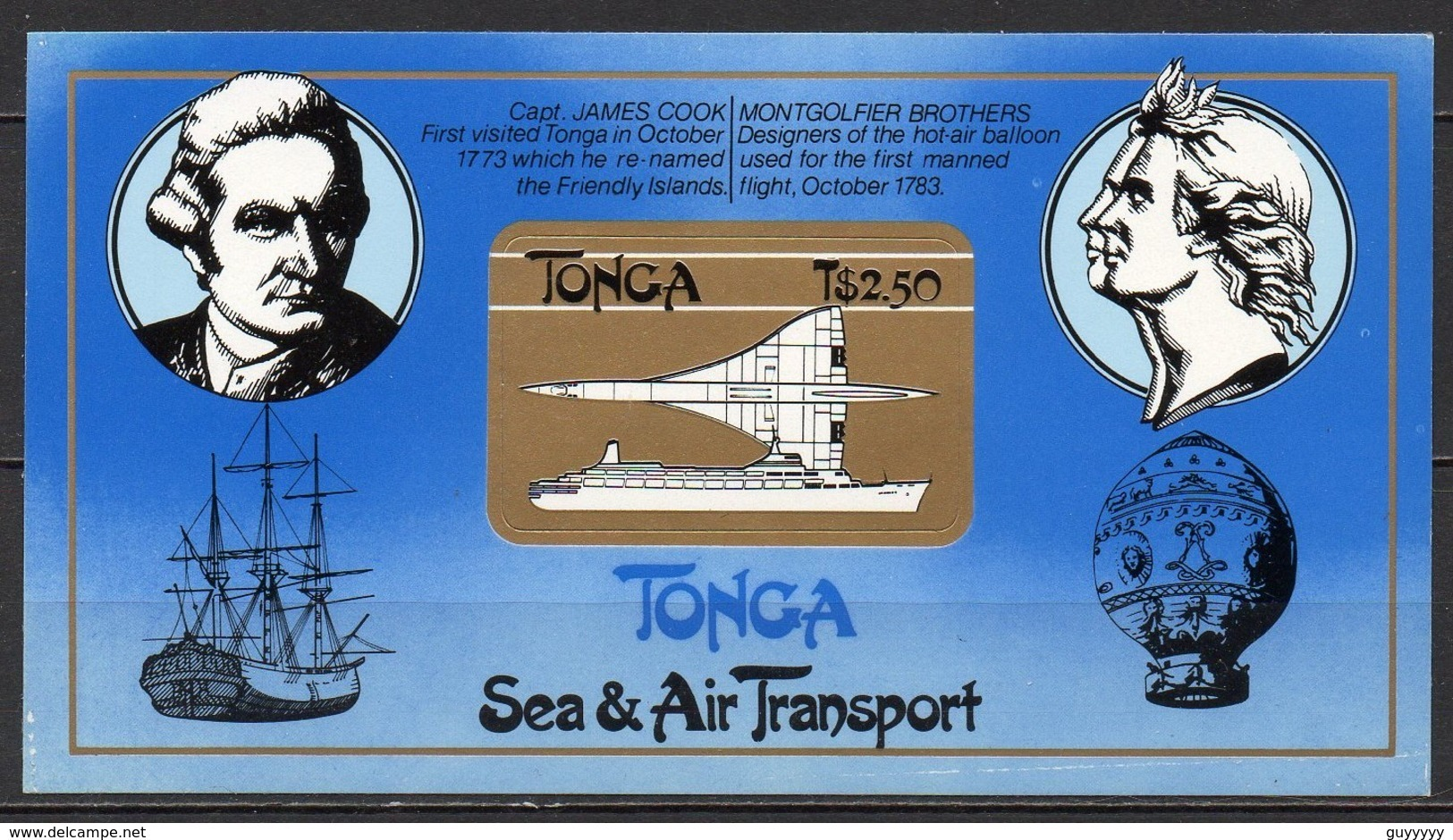 Tonga - Bloc Feuillet - 1983 - Yvert N° BF 4 **  - Transports Maritimes Et Aériens, Concorde - Tonga (1970-...)