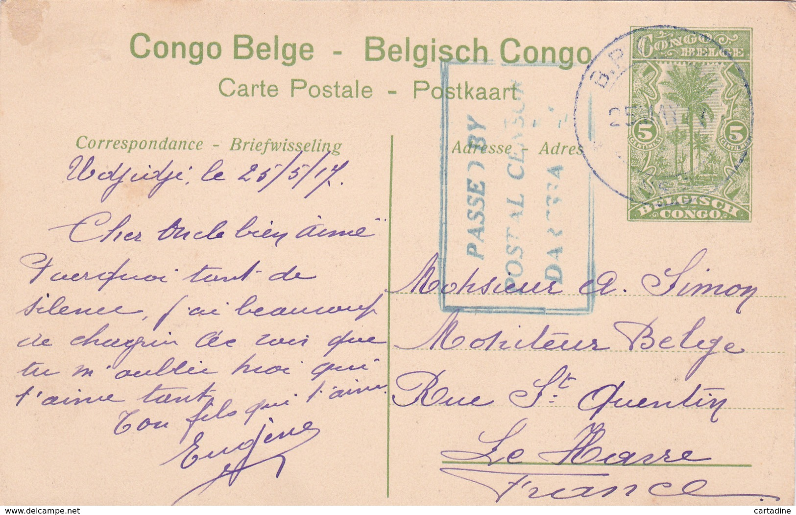 Entier Postal  Congo Belge/ Belgisch Congo - Katanga - Toa - Lac Tanganika / Tanganika-meer -  N° 7 - 1917 - Entiers Postaux