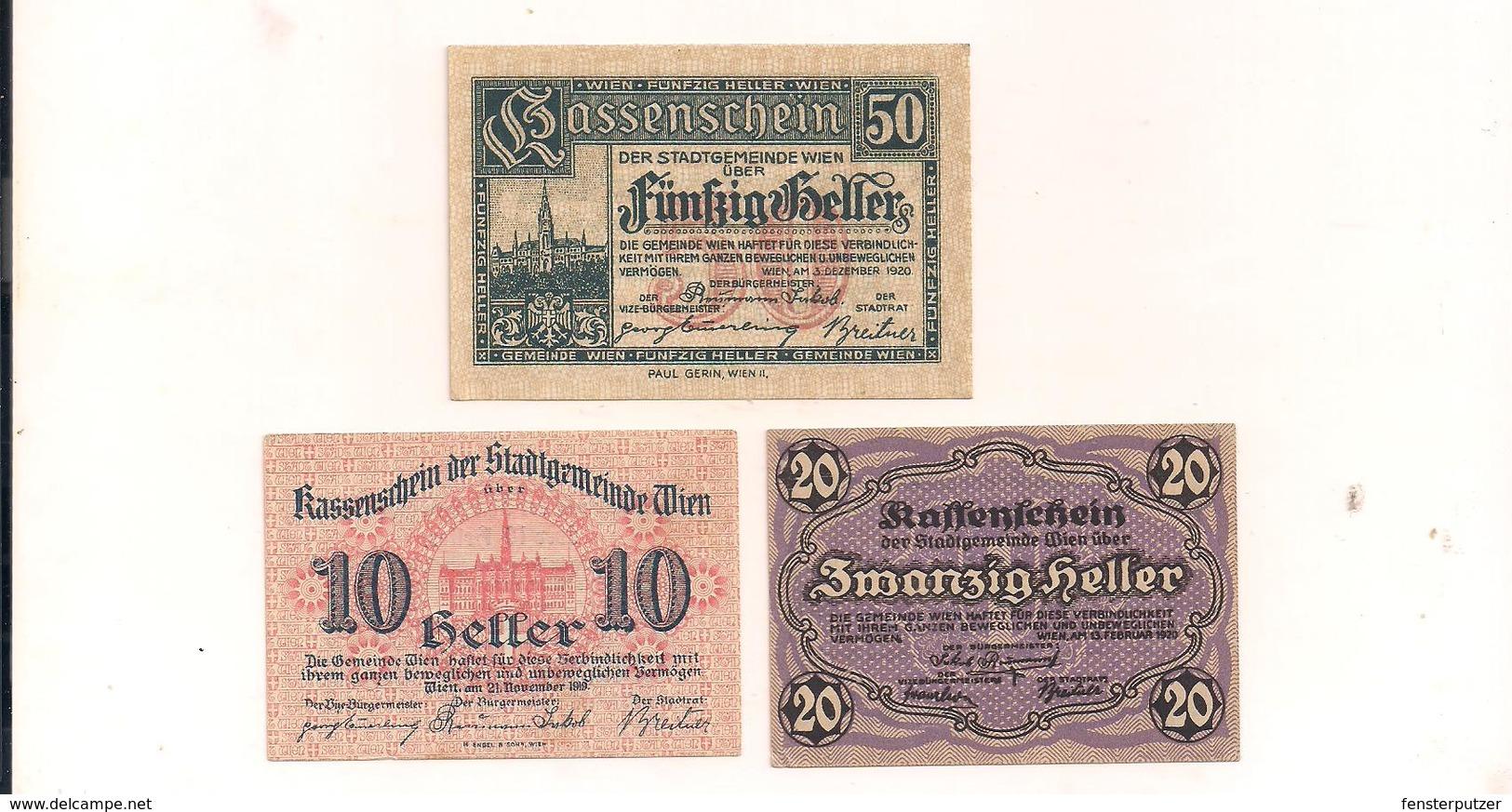 3 Notgeldscheine Wien 10, 20 + 50 H - Autriche
