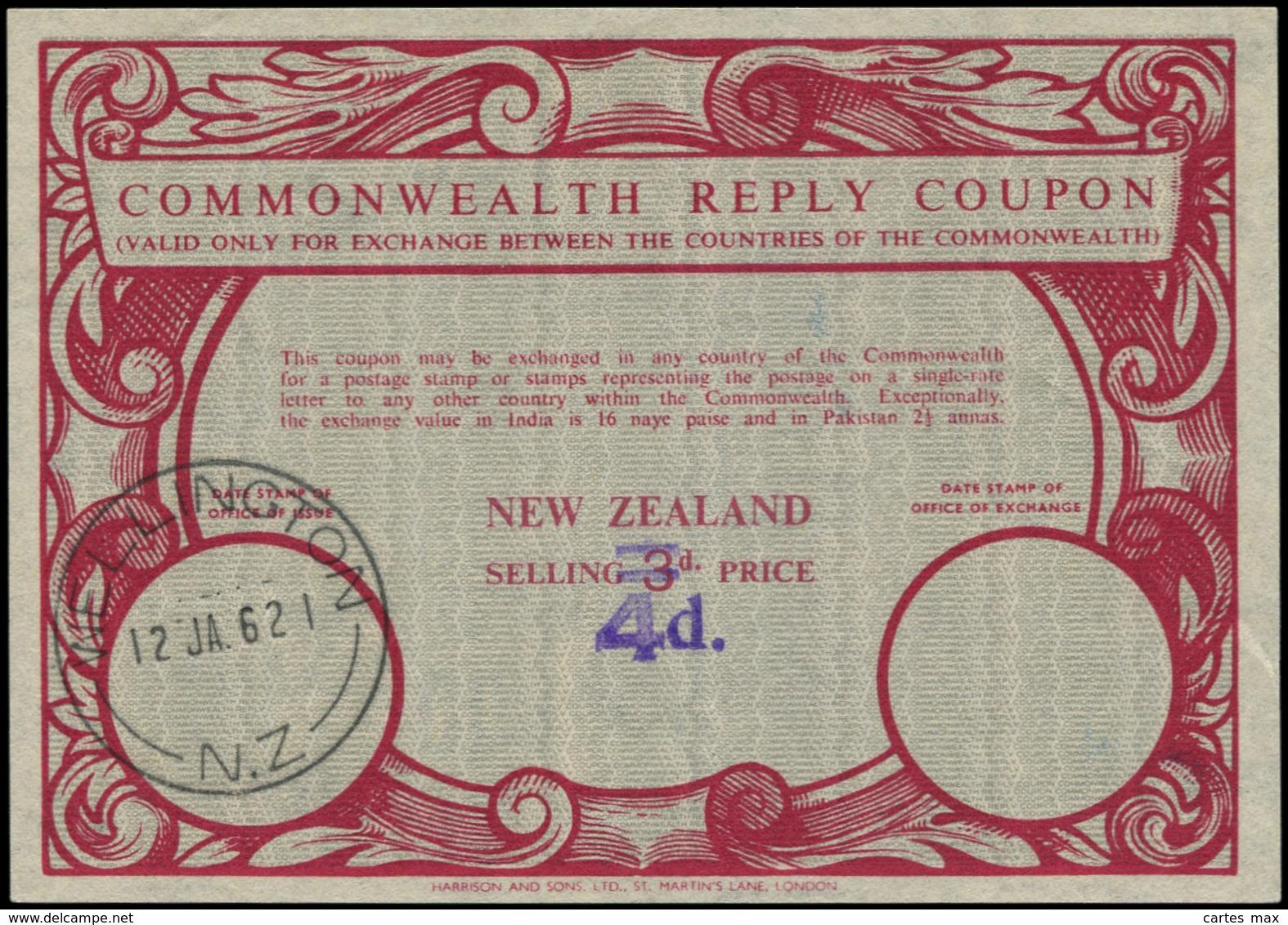 NOUVELLE ZELANDE Coupons Réponse N - Coupon Rouge, Surcharge à Main Violette 4d. S. 3d. (Wellington 12/1/62) - New Zealand