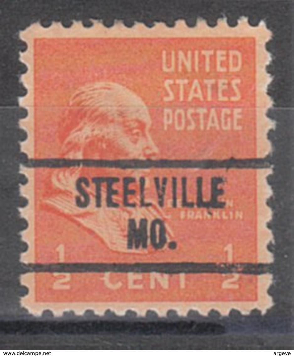 USA Precancel Vorausentwertung Preo, Locals Missouri, Steelville 734 - Estados Unidos
