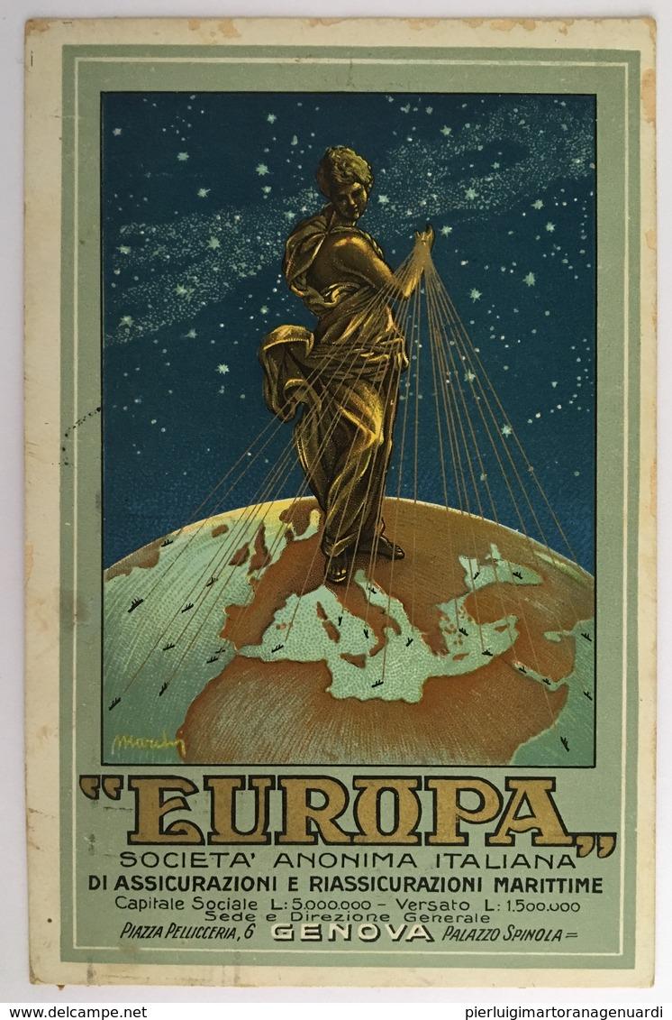 V 39001 Genova - Europa - Società Anonima Italiana Di Assicurazioni E Riassicurazioni Marittime - Pubblicitari