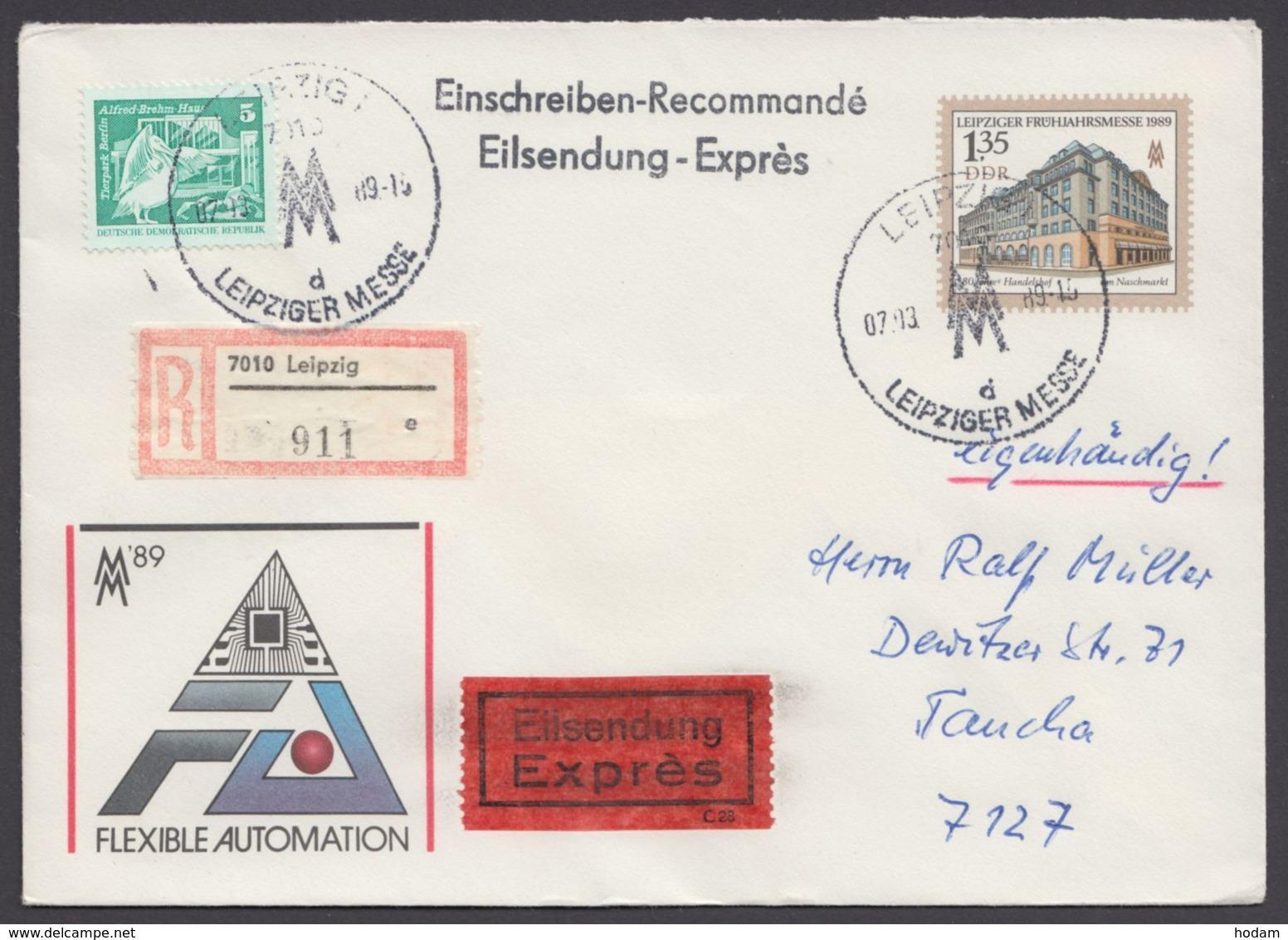 Mi-Nr. U9, R- Eilboten/eigenhändig, Mit Pass. Zusatzfr. Ankunft - DDR