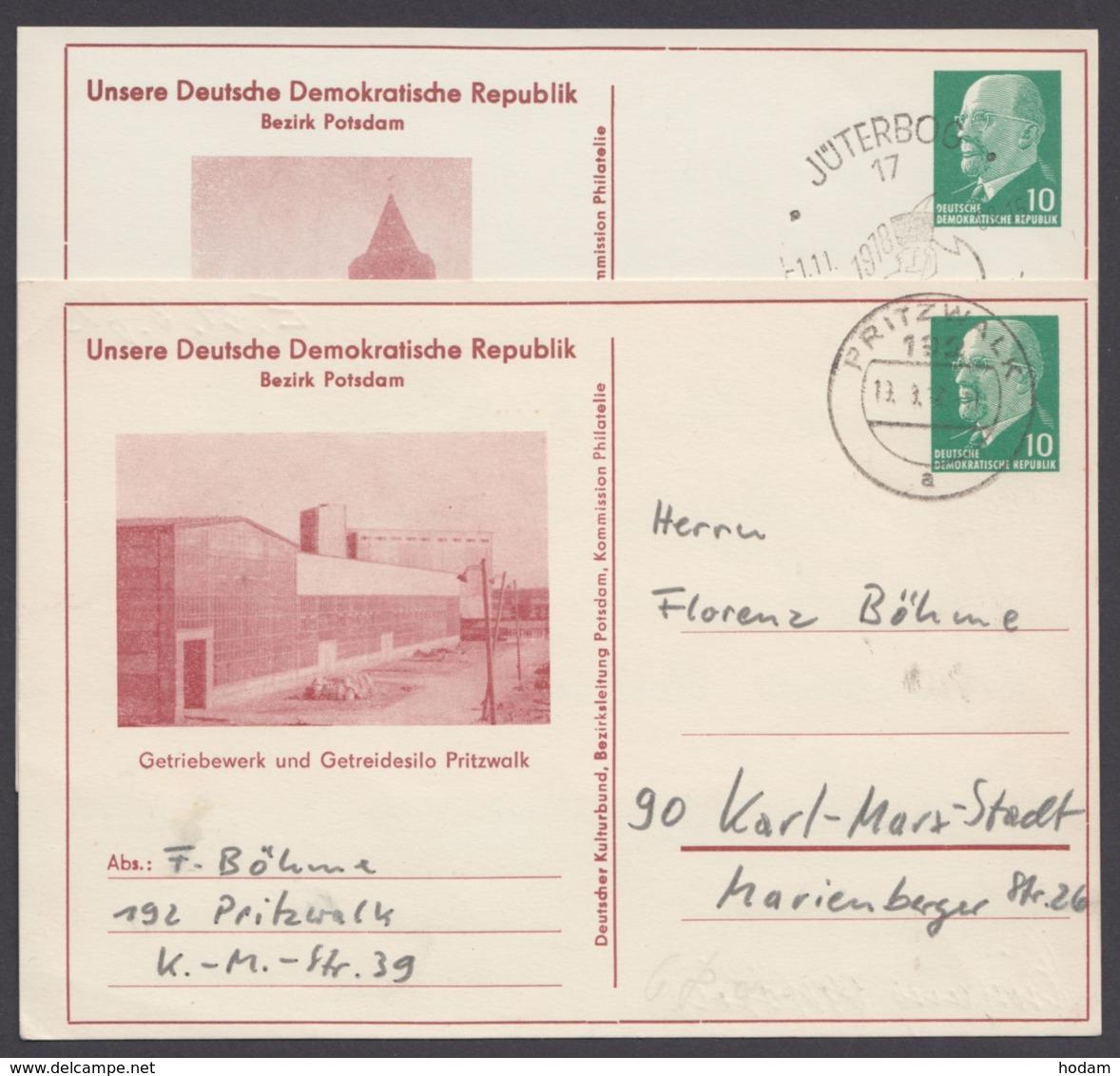 """Mi-Nr. PP9, """"Ulbricht"""", Unsere DDR """"Jüterbog"""" Und """"Pritzwalk"""", Kl. Auflage - DDR"""