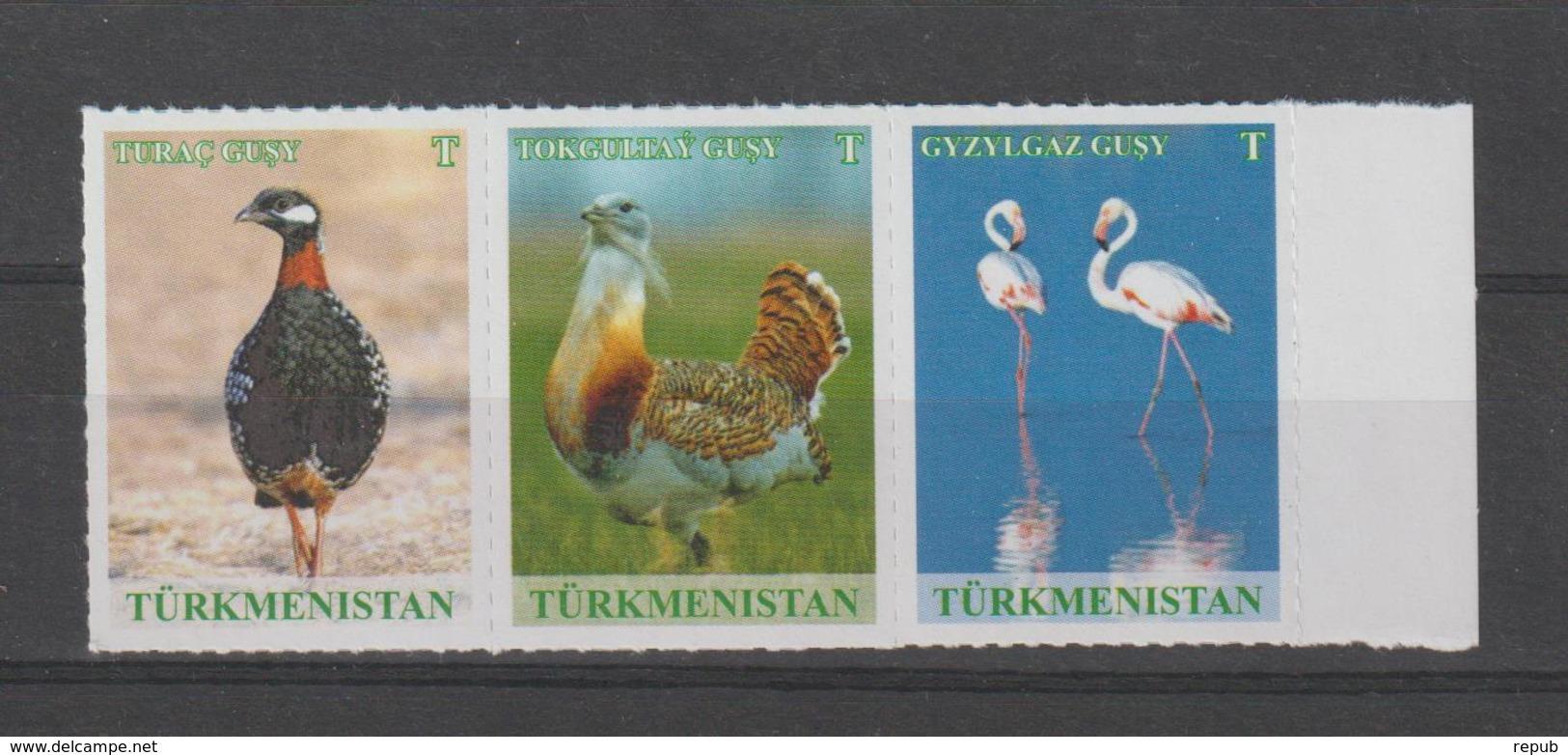 Turkménistan 2017 Bande De 3 Timbres Oiseaux ** MNH - Turkmenistan