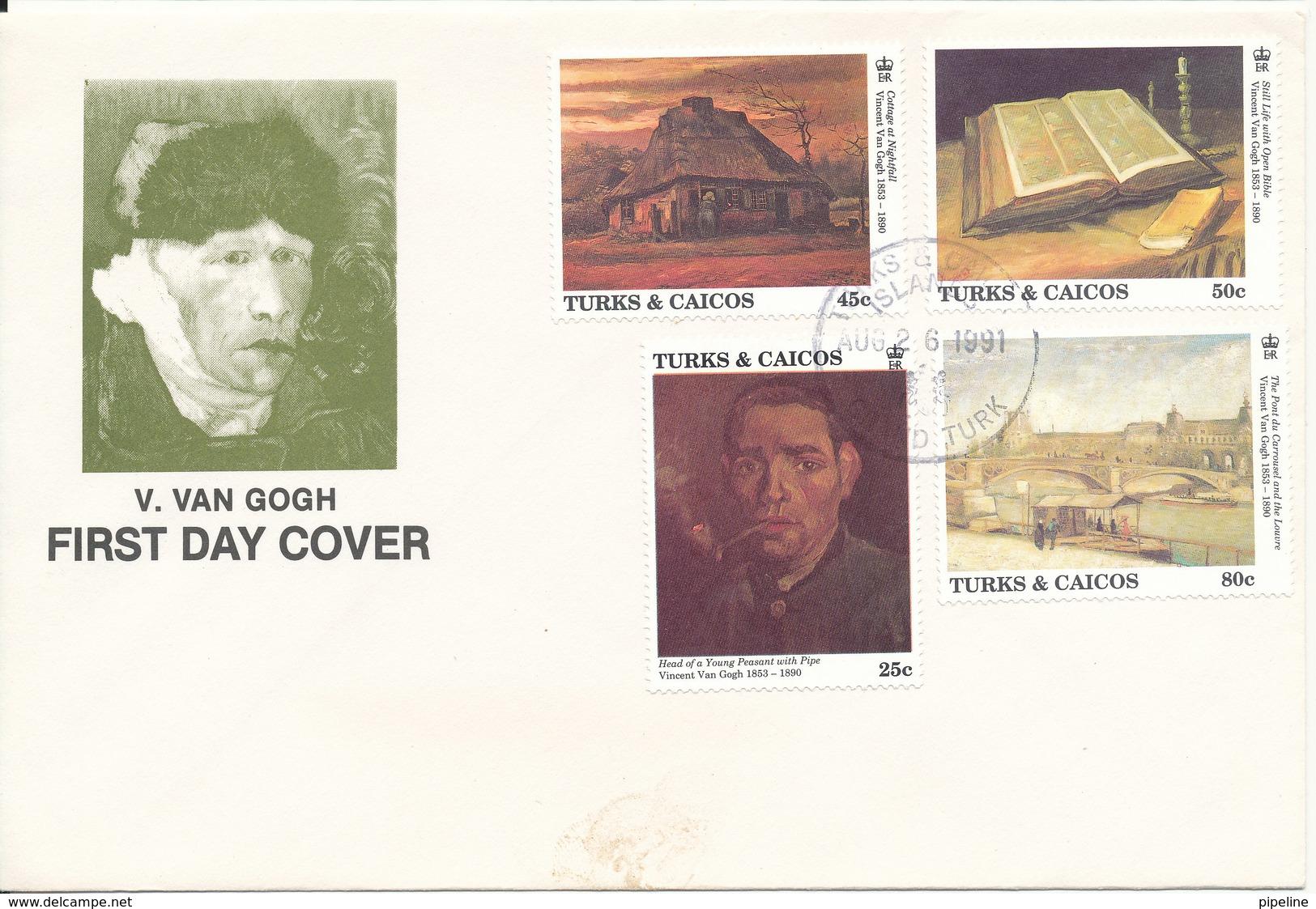 Turks & Caicos FDC 26-8-1991 Vincent Van Gogh ART Painting Set Of 4 With Cachet - Turks & Caicos (I. Turques Et Caïques)