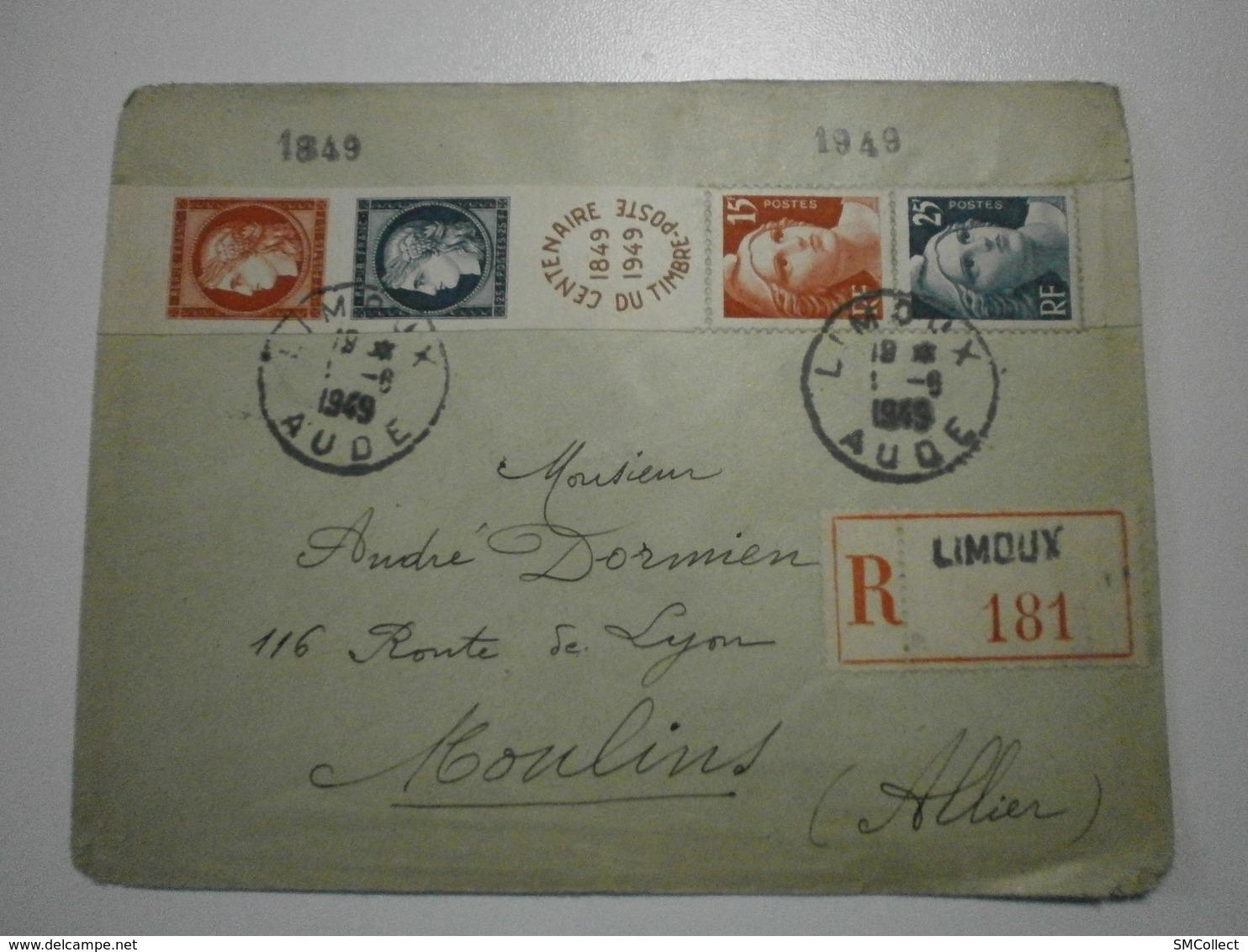 Lettre Recommandée 1949, Bande Centenaire Timbre Poste 1849-1949, Limoux (11) Vers Moulins (03) - France