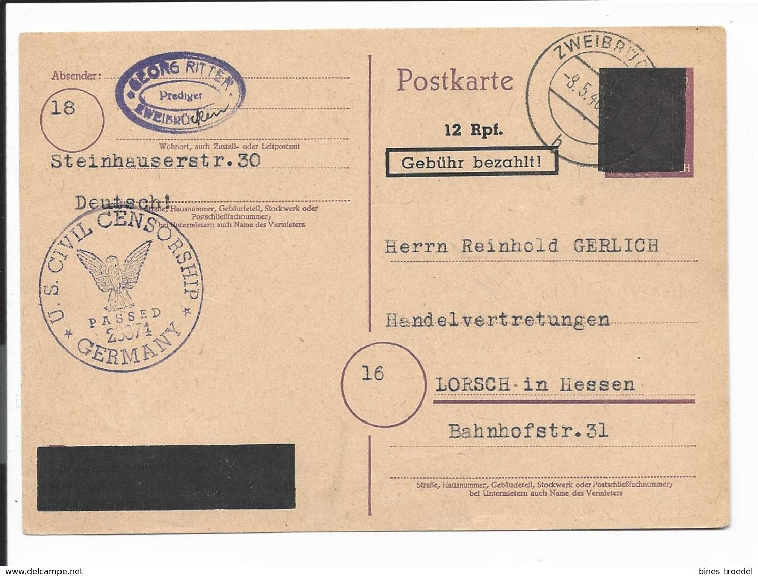 Franz. Zone PH 831 I - 12 Rpf Geb. Bezahlt - Ganzsache V. Zweibrücken N. Lorsch Mit Zensur Bedarfsverwendet - Französische Zone