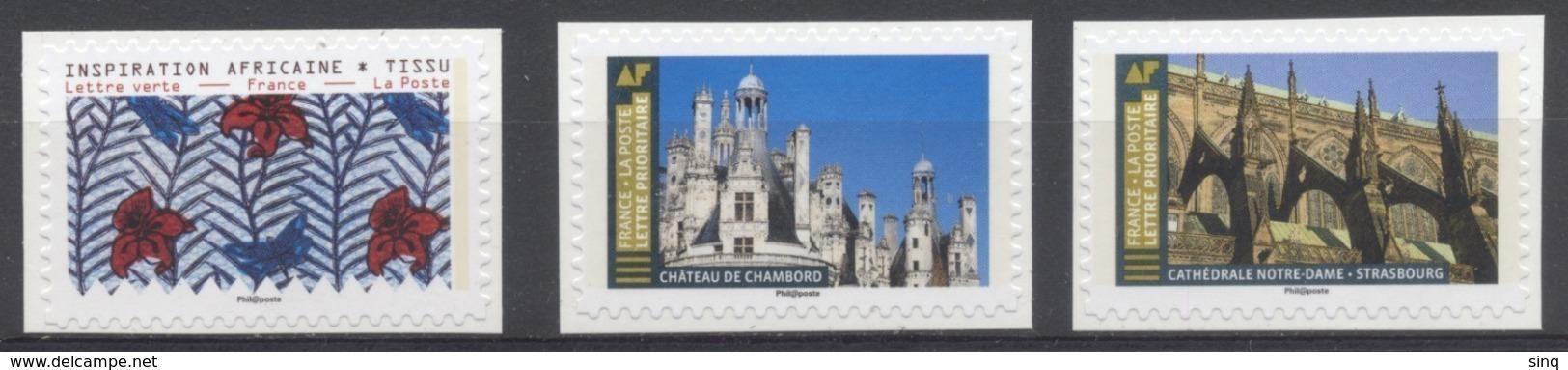 2019 - 3 Adhésifs émis En Feuilles - Inspiration Africaine Tissus - Chambord Et Notre Dame Strasbourg - France
