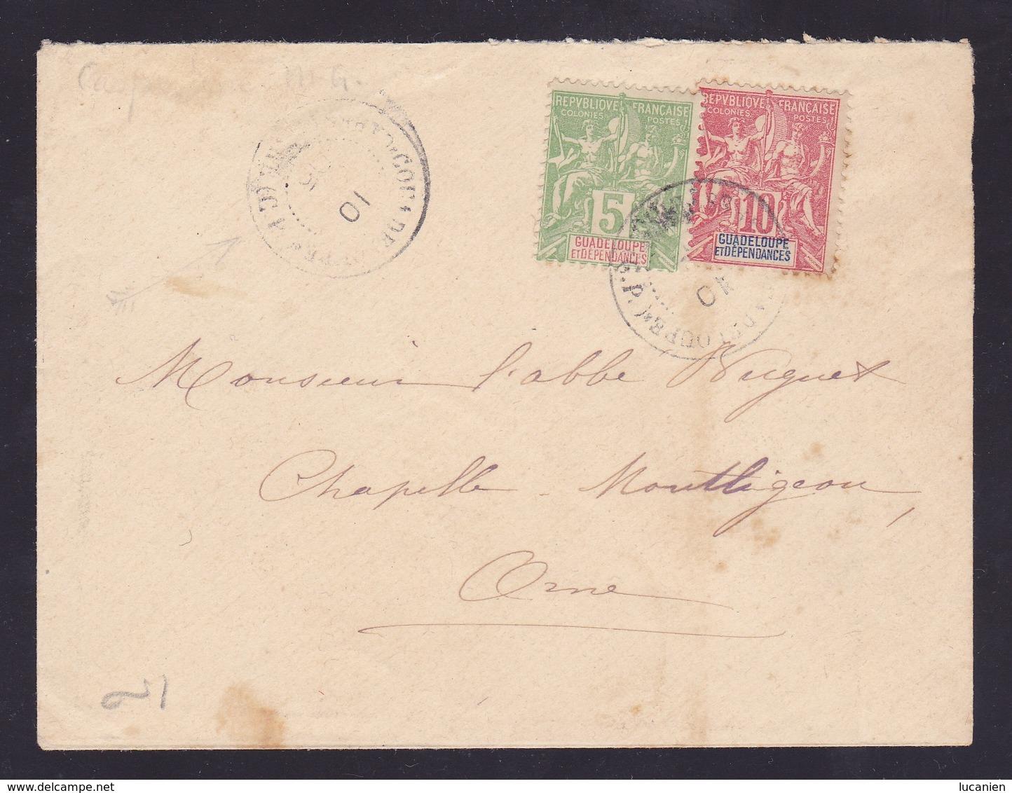 Enveloppe Avec Timbres N° 40 & 41 - Voir Verso & Descriptif - - Guadeloupe (1884-1947)
