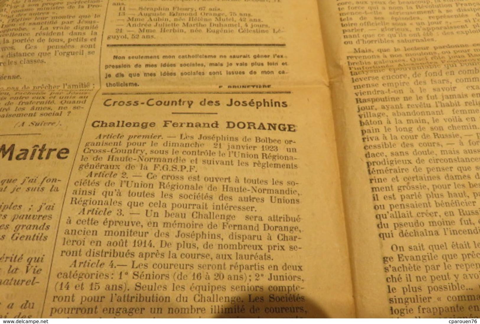 Journal Déc 1922 1 ère Année L'Espoir Sans Peur écho D'action Catholique Sociale  De Bolbec 76 Normandie Chrétienne - Journaux - Quotidiens
