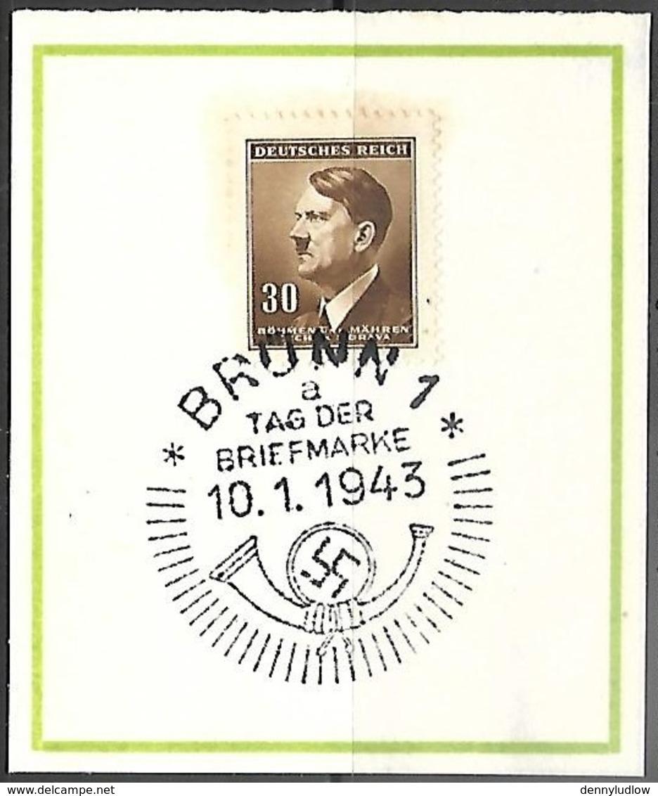 Bohemia & Moravia  1943   Sc#63 Hitler Souv Card Nazi Cancel - Covers & Documents