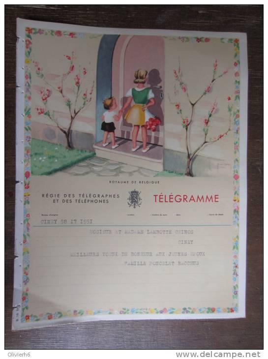 Lot De + De 300 Télégrammes Belge (M30) 1953 (11 Vues) De Xxx Vers Ciney - Mitteilung