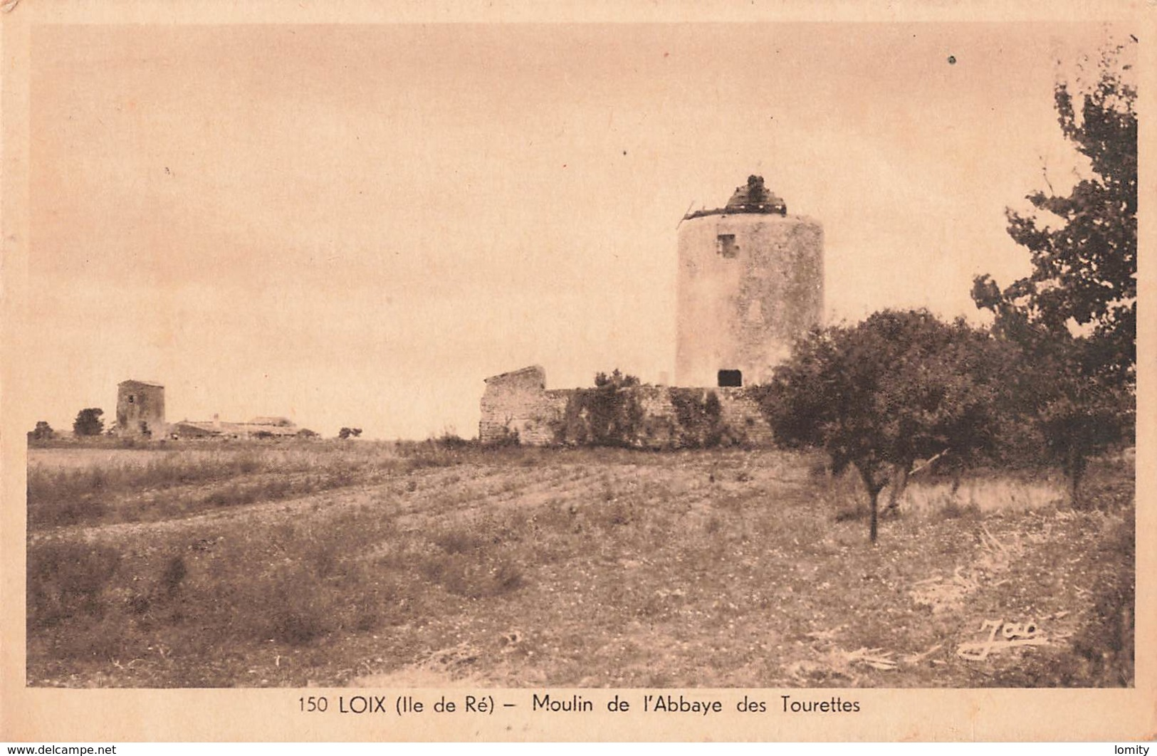 17 Ile De Ré Loix Moulin De L' Abbaye Des Tourettes Cpa Cachet Loix - Ile De Ré