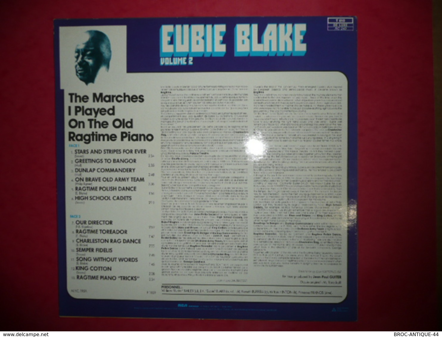 LP33 N°815 - EUBIE BLAKE WITH ORCHESTRA - VOL.2 - COMPILATION 13 TITRES JAZZ BLUES RAGTIME - Jazz