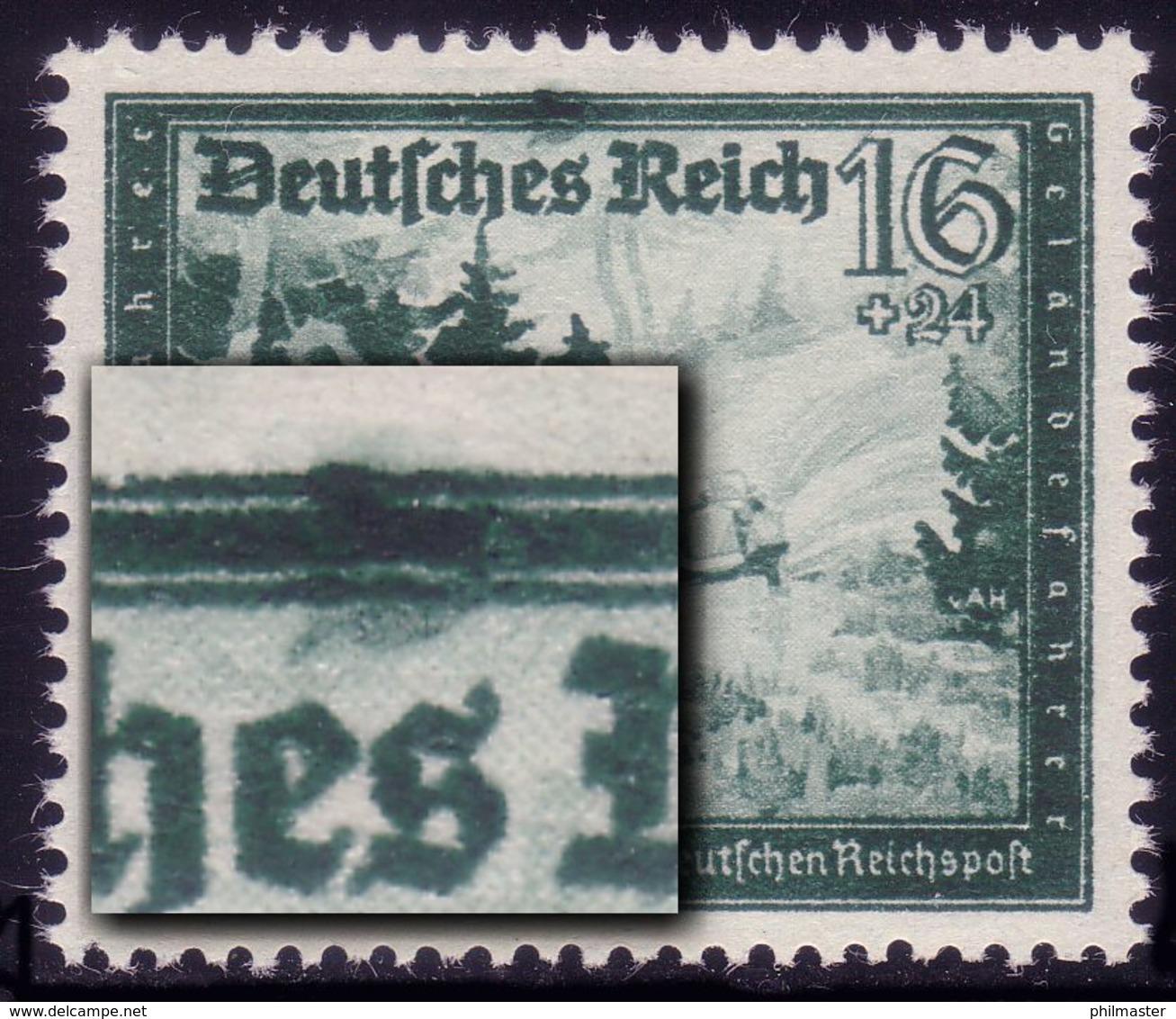891II Reichspost 16 Pf: Dunkler Fleck über Es, Feld 37, ** - Abarten