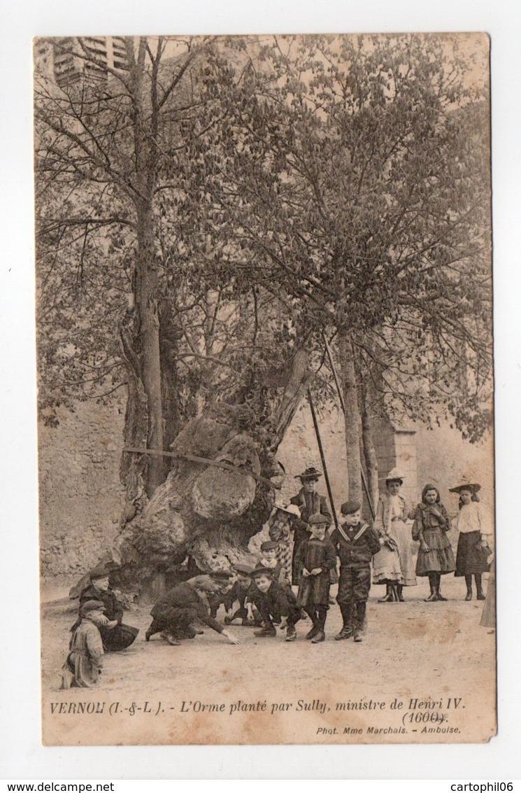 - CPA VERNOU (37) - L'Orme Planté Par Sully (belle Animation 1905) - Photo Mme Marchais - - Francia
