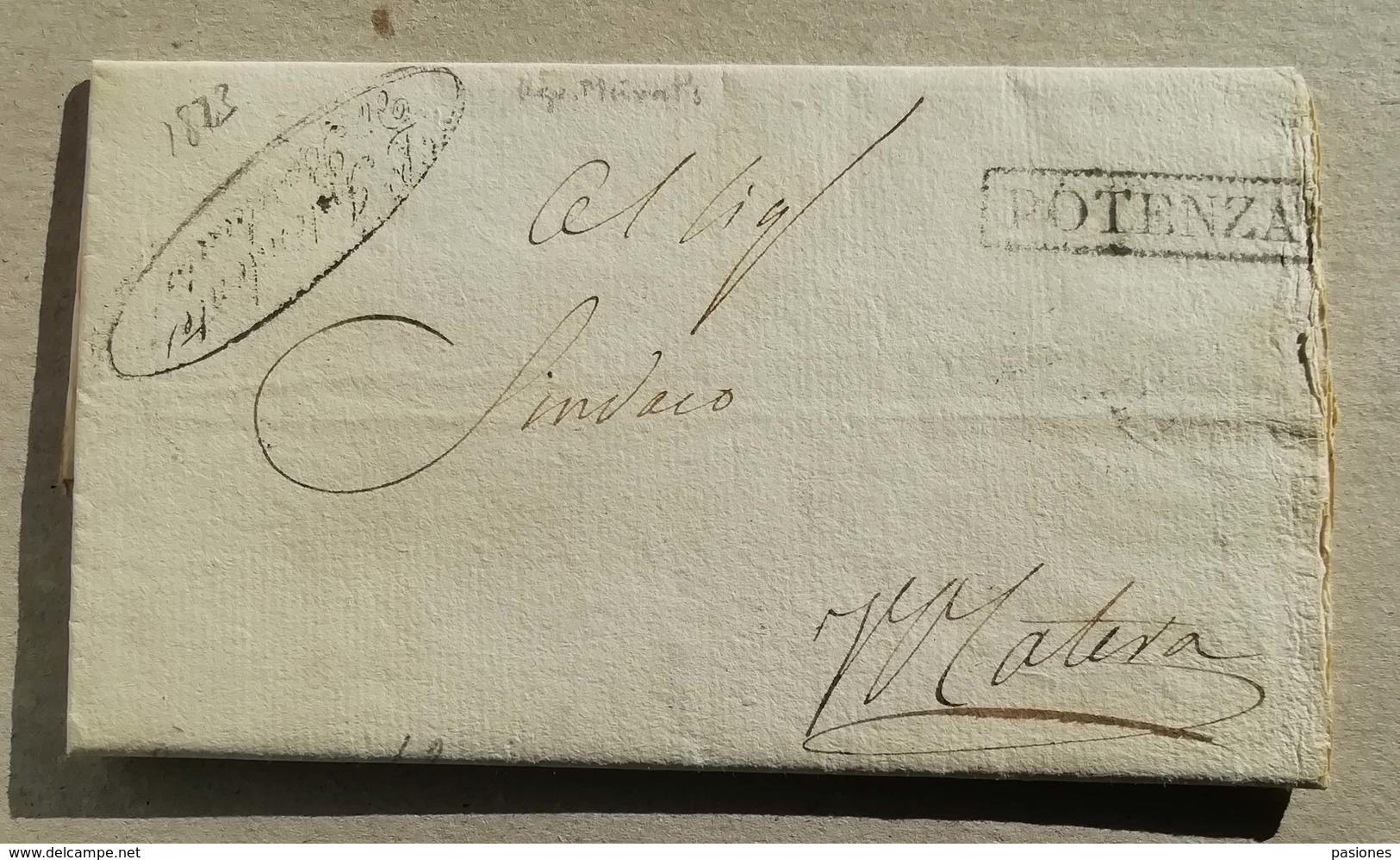 Prefilatelica Potenza-Matera - 22/12/1823 Con Testo - 1. ...-1850 Prefilatelia