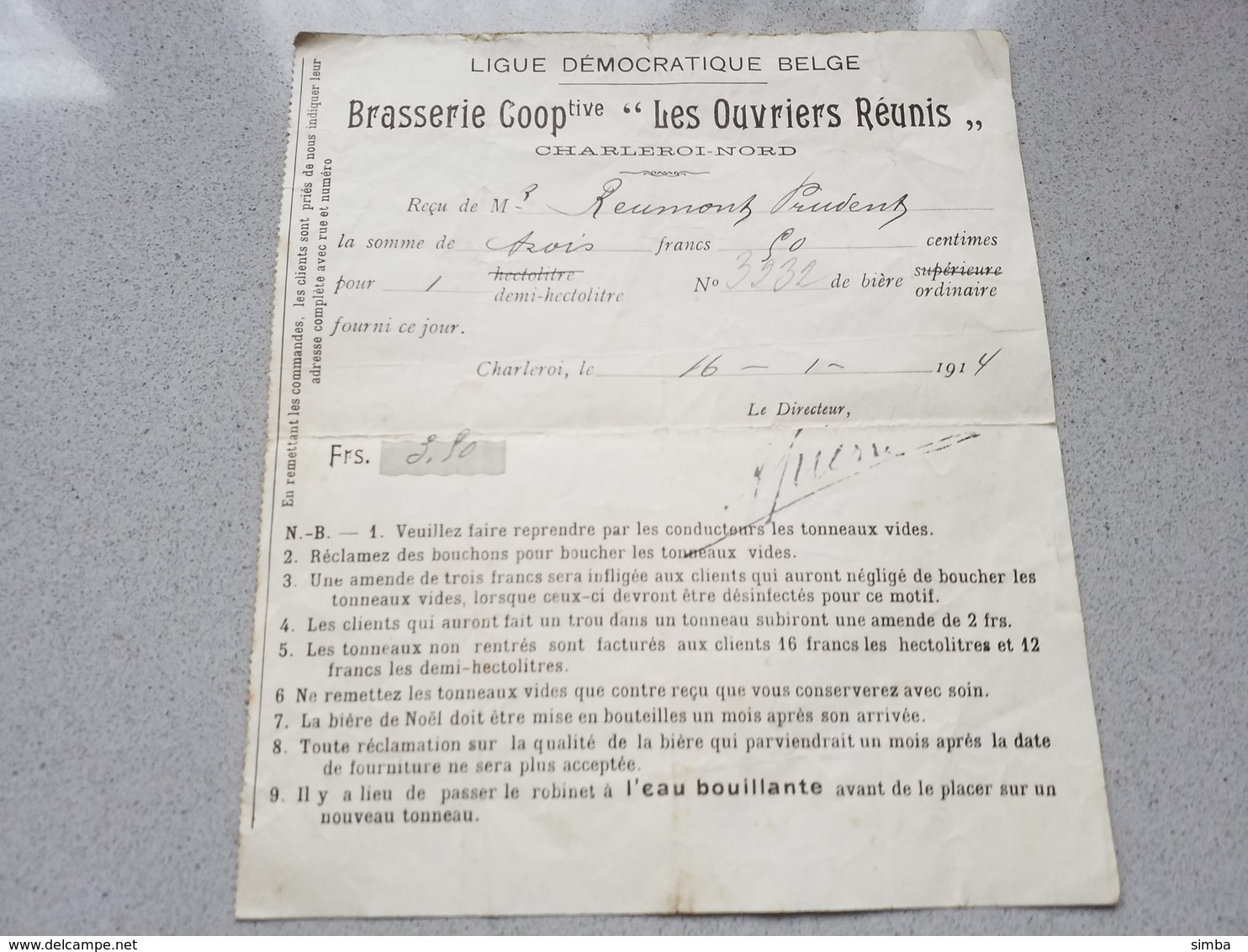 Charleroi Brasserie Coopérative Les Ouvriers Reunis Reçu 1914 - Belgique