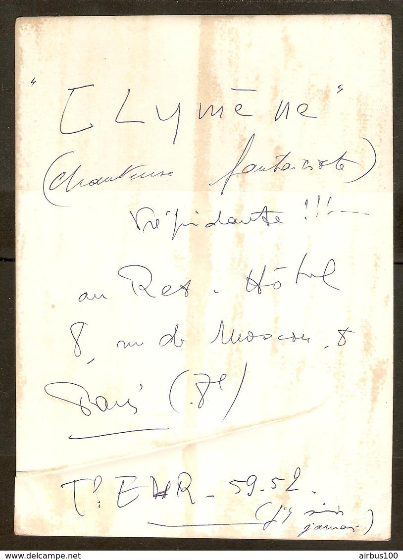 """PHOTO 13 X 18 Cm - CHANTEUSE FANTAISISTE """" CLYMENE """" - HOTEL 8 Rue De MOSCOU PARIS 8 ème - VOIR DOS - Persone Anonimi"""