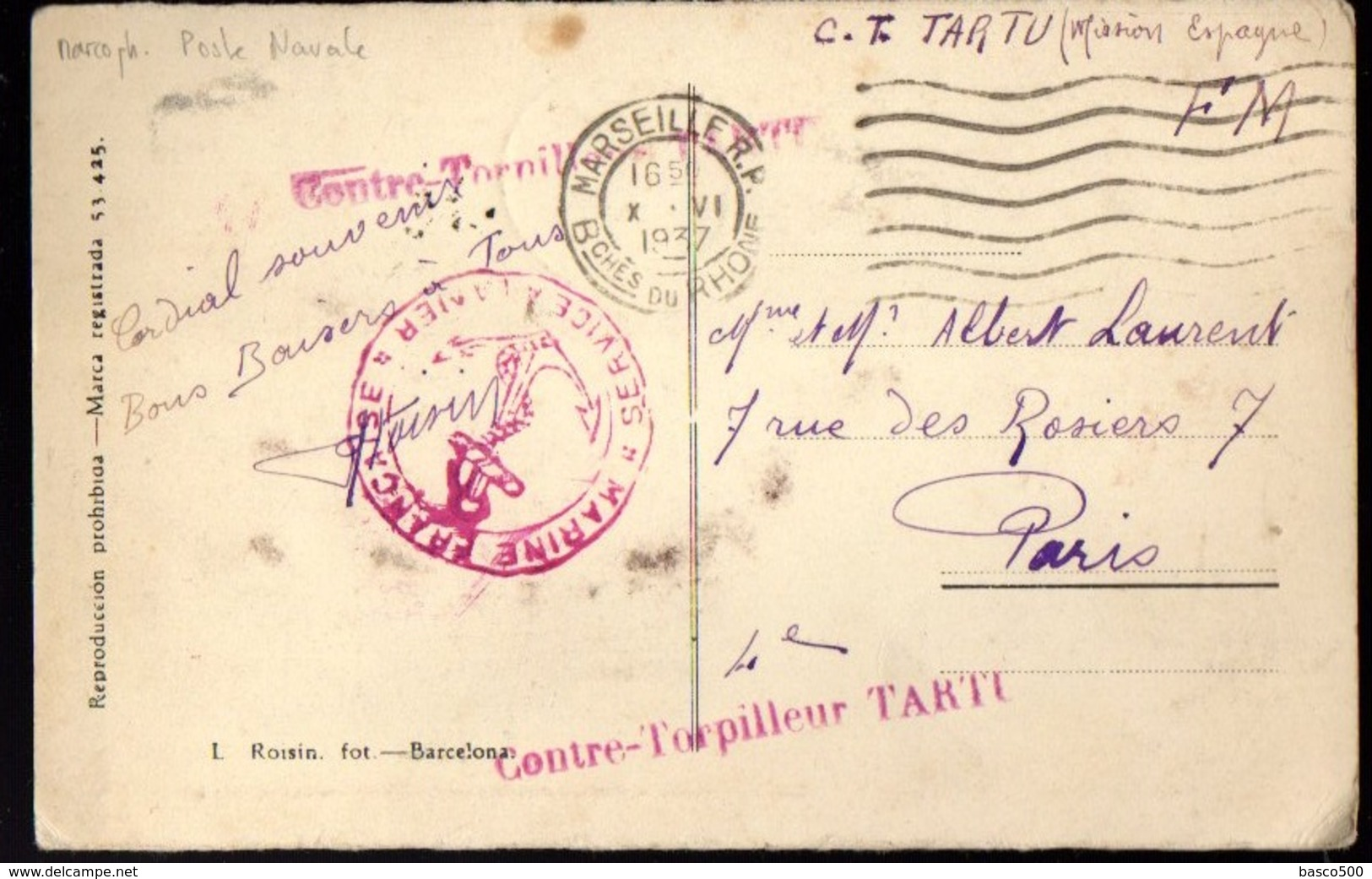 """1937 - Oblitération Rouge """"Contre-Torpilleur TARTU"""" + """"Service à La Mer"""" Sur CP De Barcelone (Mission Espagne) - Marcophilie (Lettres)"""