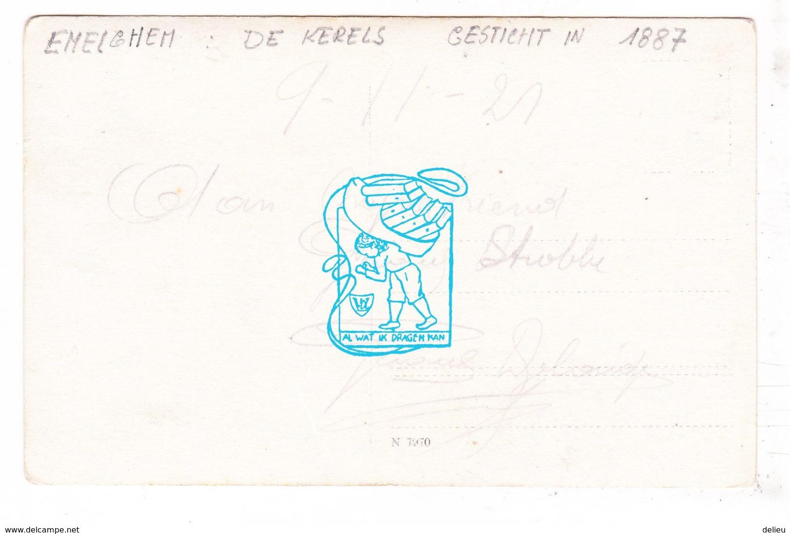 PK Emelgem Izegem - Fotokaart 1921 - Optocht Stoet Wapenstilstand Met Wagen 'De Kerels' - Aan Mijnen Vriend G. Strobbe - Izegem