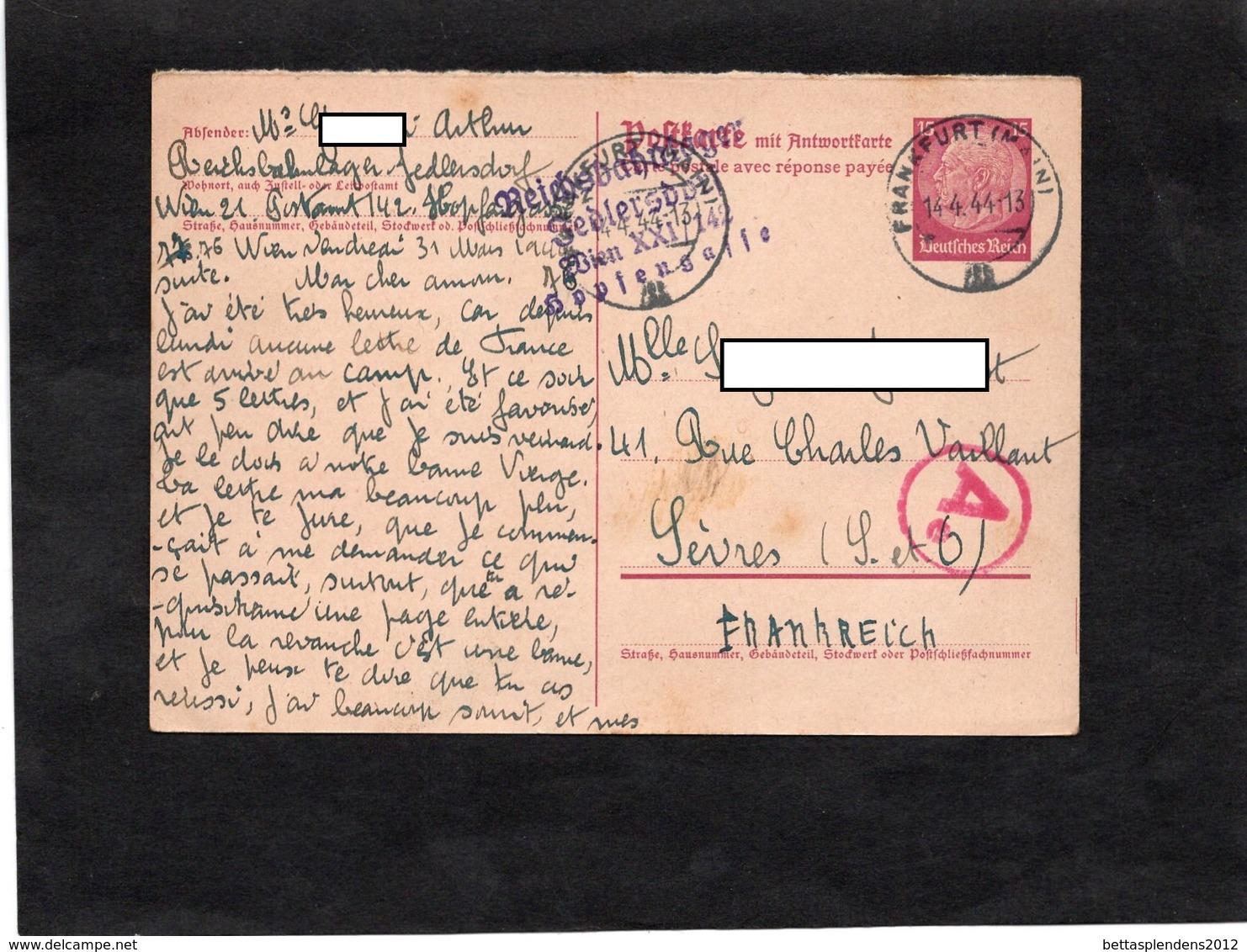 Entier Postal - Griffe REICHSBAHNLAGER GEBLERSDORF WIEN XXI / 142 & Cachet Frankfurt (Main) 1944 - Griffe Censure Ae - Germany