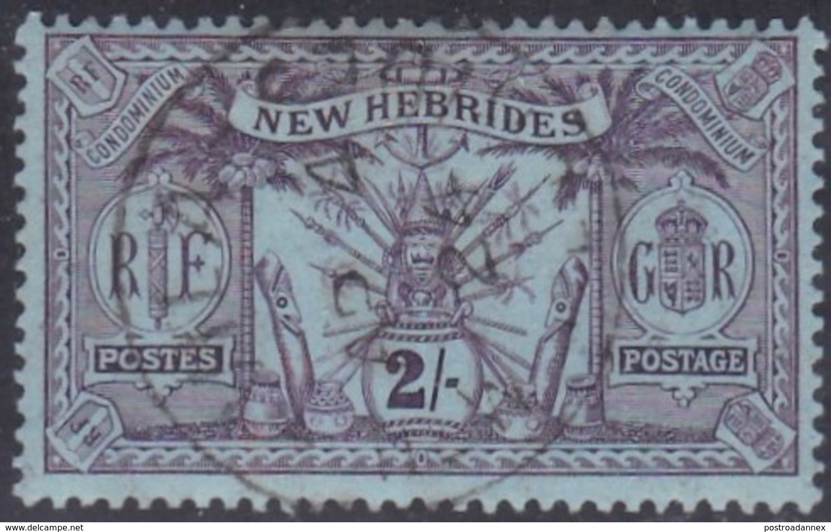 New Hebrides, Scott #24, Used, Idol, Issued 1911 - English Legend