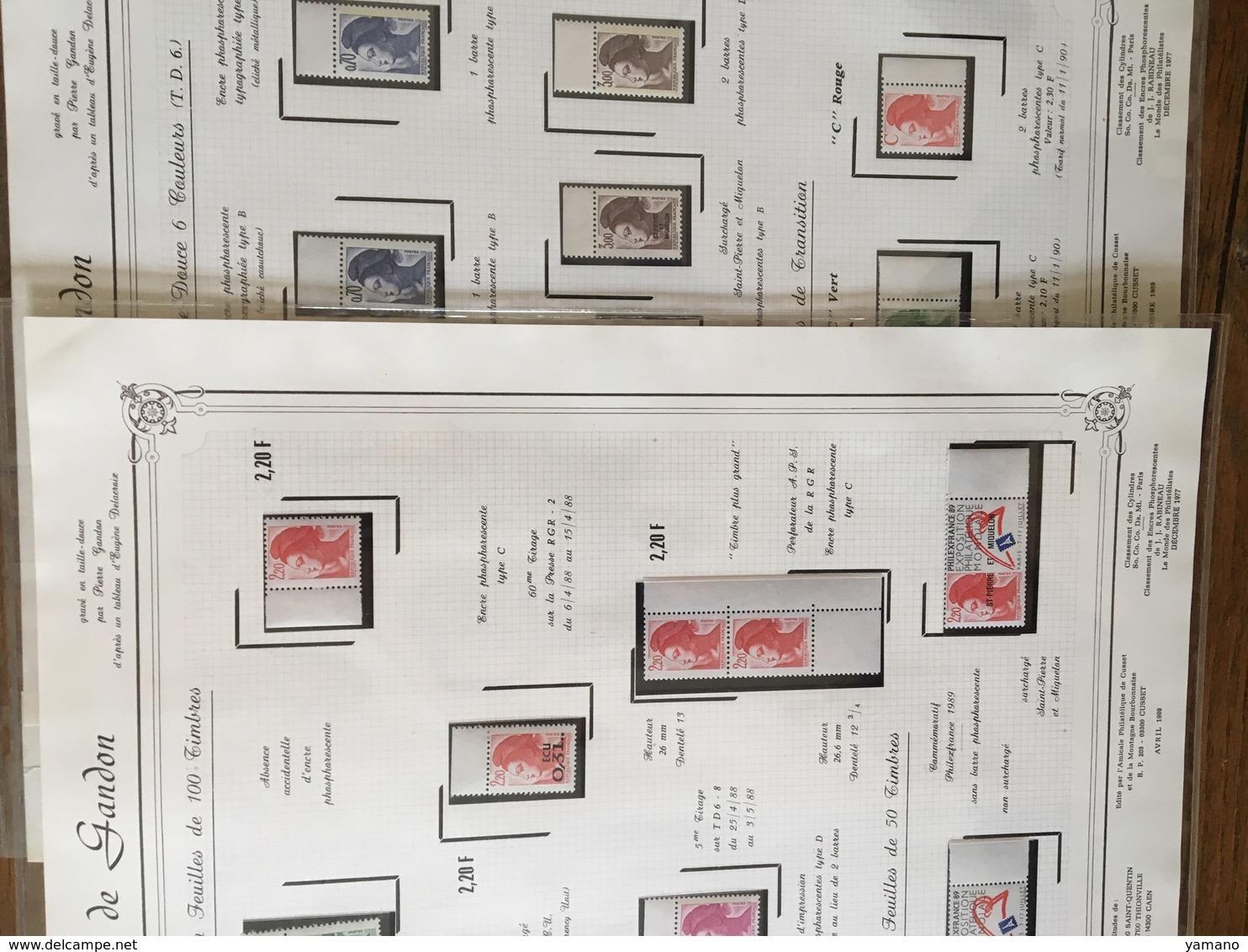 LIBERTE DE GANDON- Série Complète De 9 ENCARTS TECHNIQUES  à Tirage Limité , édités Par L'Amicale Philatélique De Cusset - Variétés Et Curiosités