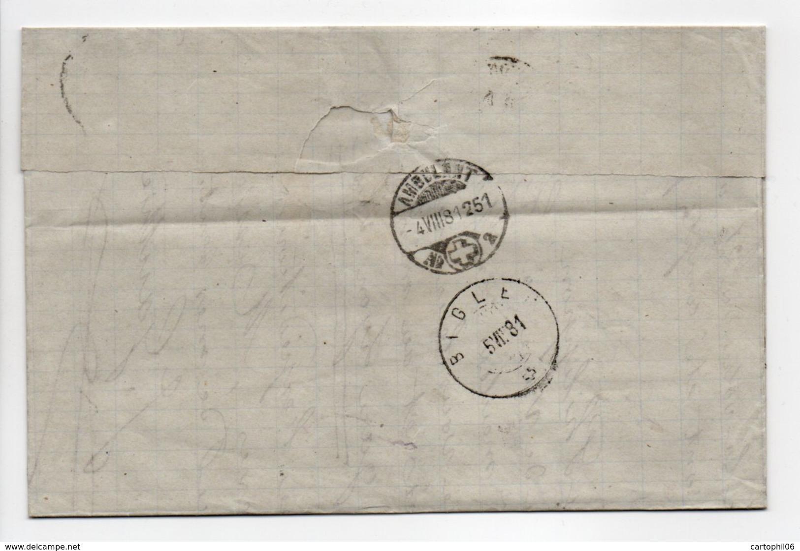 - Lettre LYON Pour BIGLEN (Suisse) 4 AOUT 1881 - 25 C. Bistre S. Jaune Type Sage II - Cachet AMBULANT - - Marcophilie (Lettres)
