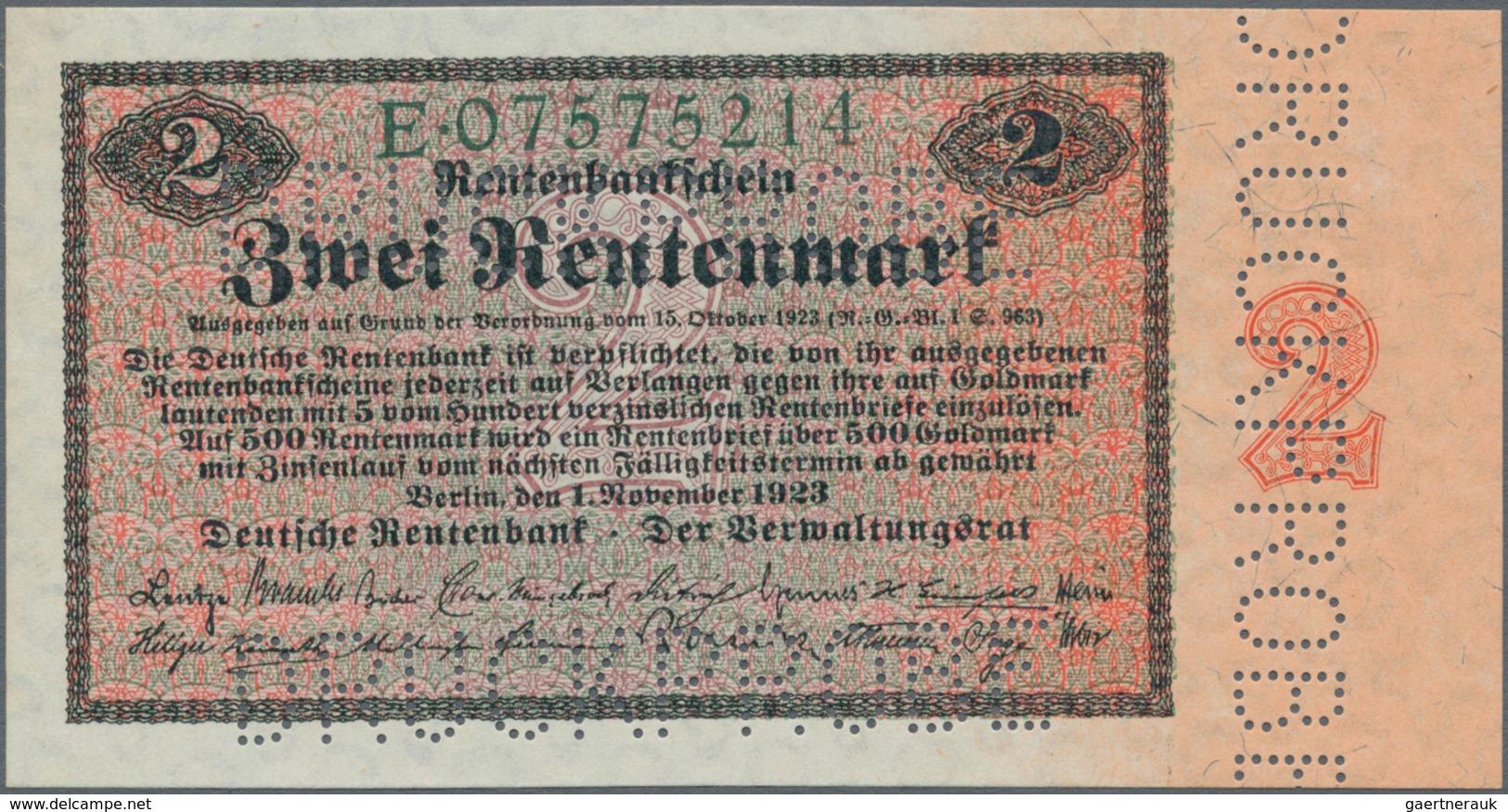 Deutschland - Deutsches Reich Bis 1945: 2 Rentenmark 1923 MUSTER, Ro.155M, Mit Dreifacher Perforatio - Non Classés