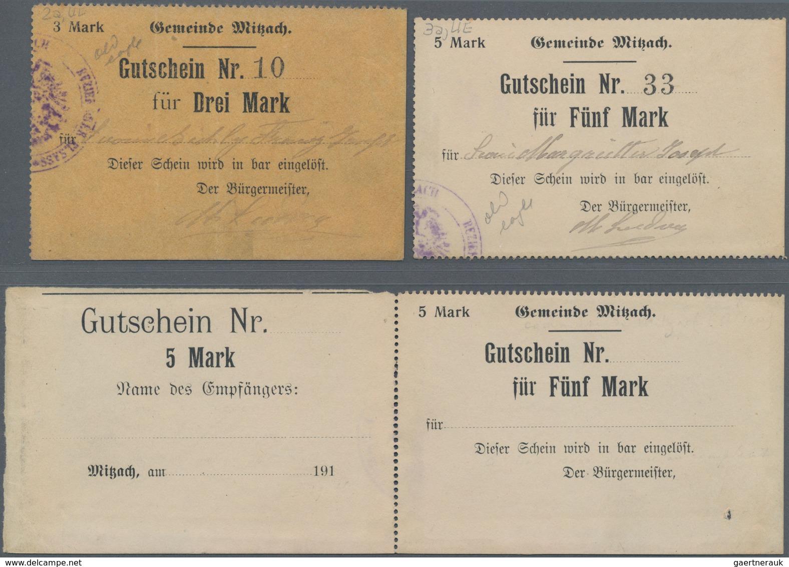 Deutschland - Notgeld - Elsass-Lothringen: Mitzach, Oberelsass, Gemeinde, 3, 5 Mark, O. D., Papier, - Allemagne