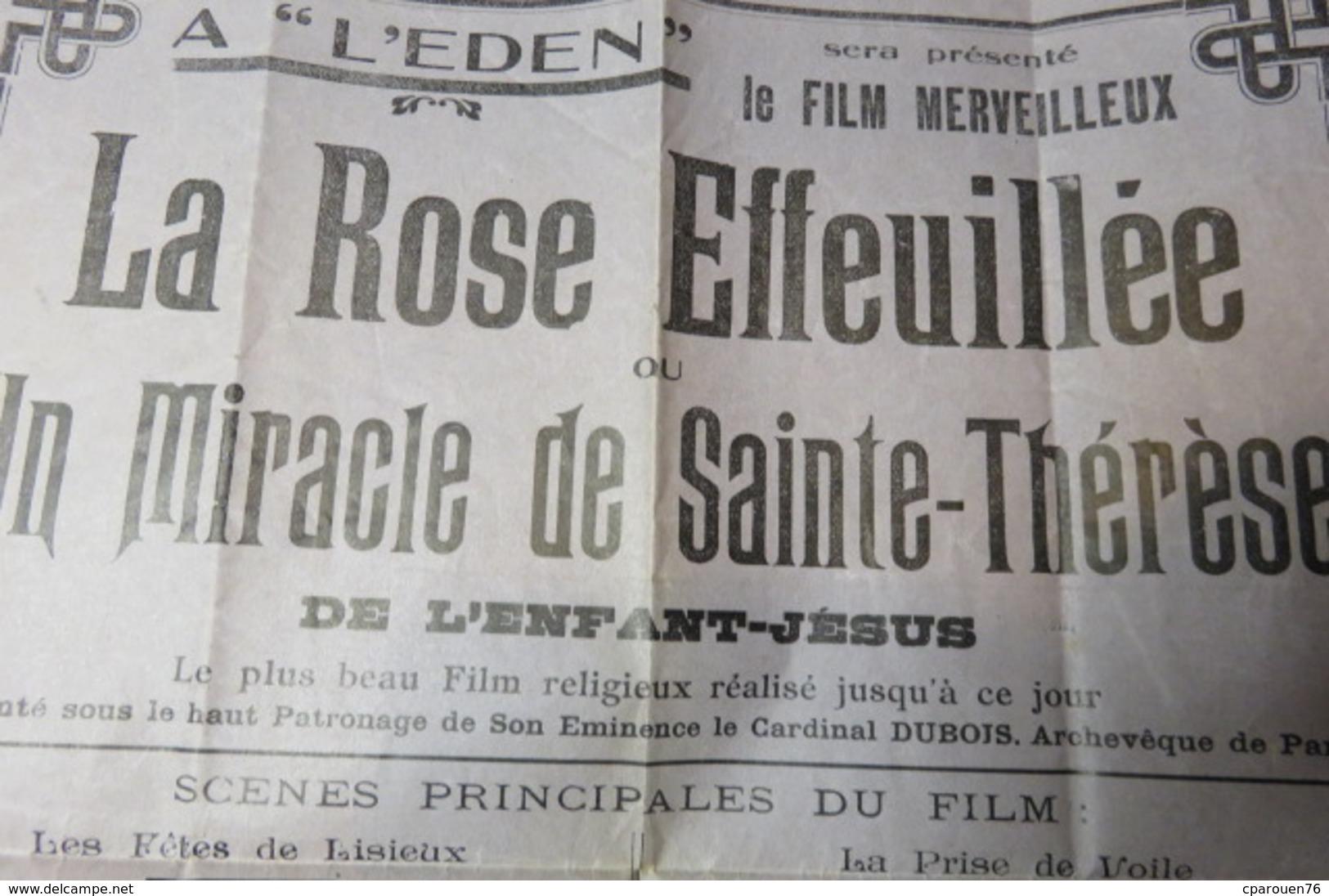 PROGRAMME ANCIEN CINEMA  Eden, Rue Léon-Gambetta Bolbec Imp Lasne - Programmes