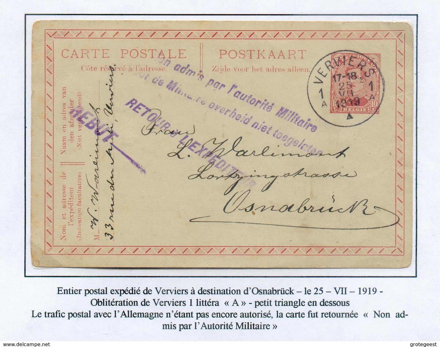COLLECTION DE VERVIERS -  E.P. Carte 10c. Obl. Sc VERVIERS 1 Vers Osnabruck 25-7-19 + Griffe Violette NON ADMIS PAR L'AU - Stamped Stationery