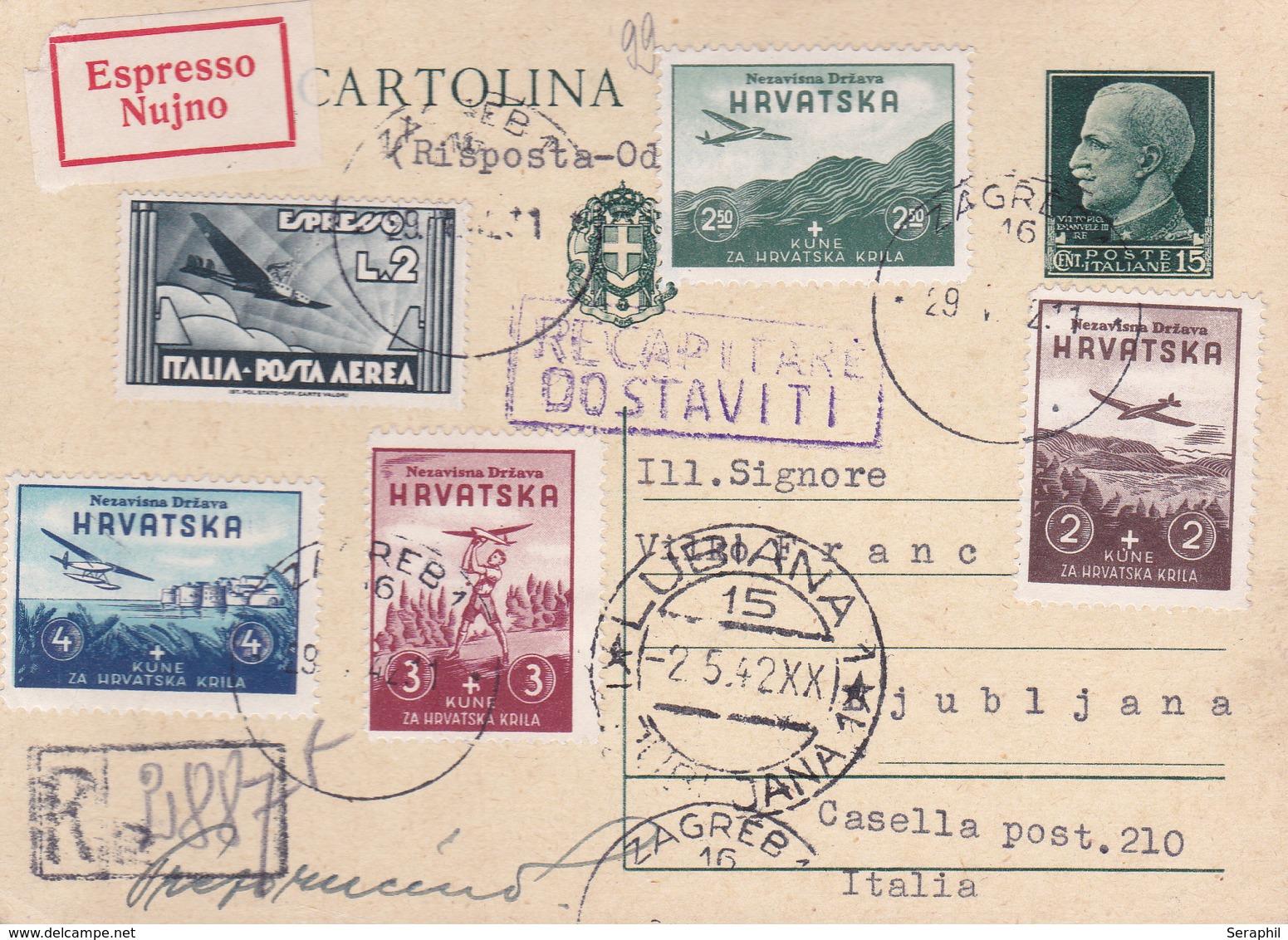 Lettre De 1942 - Entier Postal Italien + Timbre Expres Italie N° 68 - Poste Aérienne + Timbres De Croatie N° 50/3 - Interi Postali