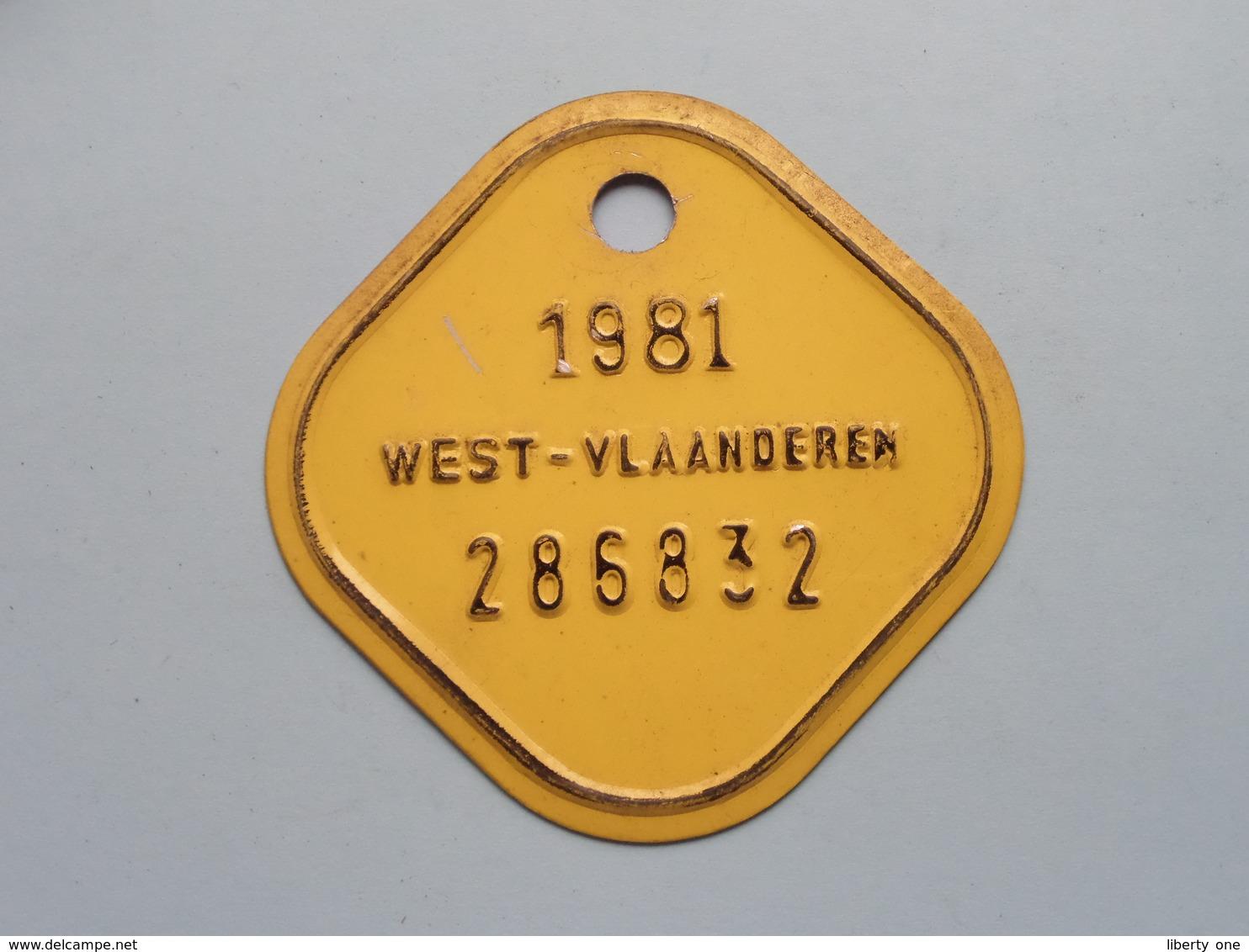 FIETSPLAAT / PLAQUE Vélo ( WEST - VLAANDEREN > N° 286832 ) Anno 1981 ( België ) ! - Plaques D'immatriculation