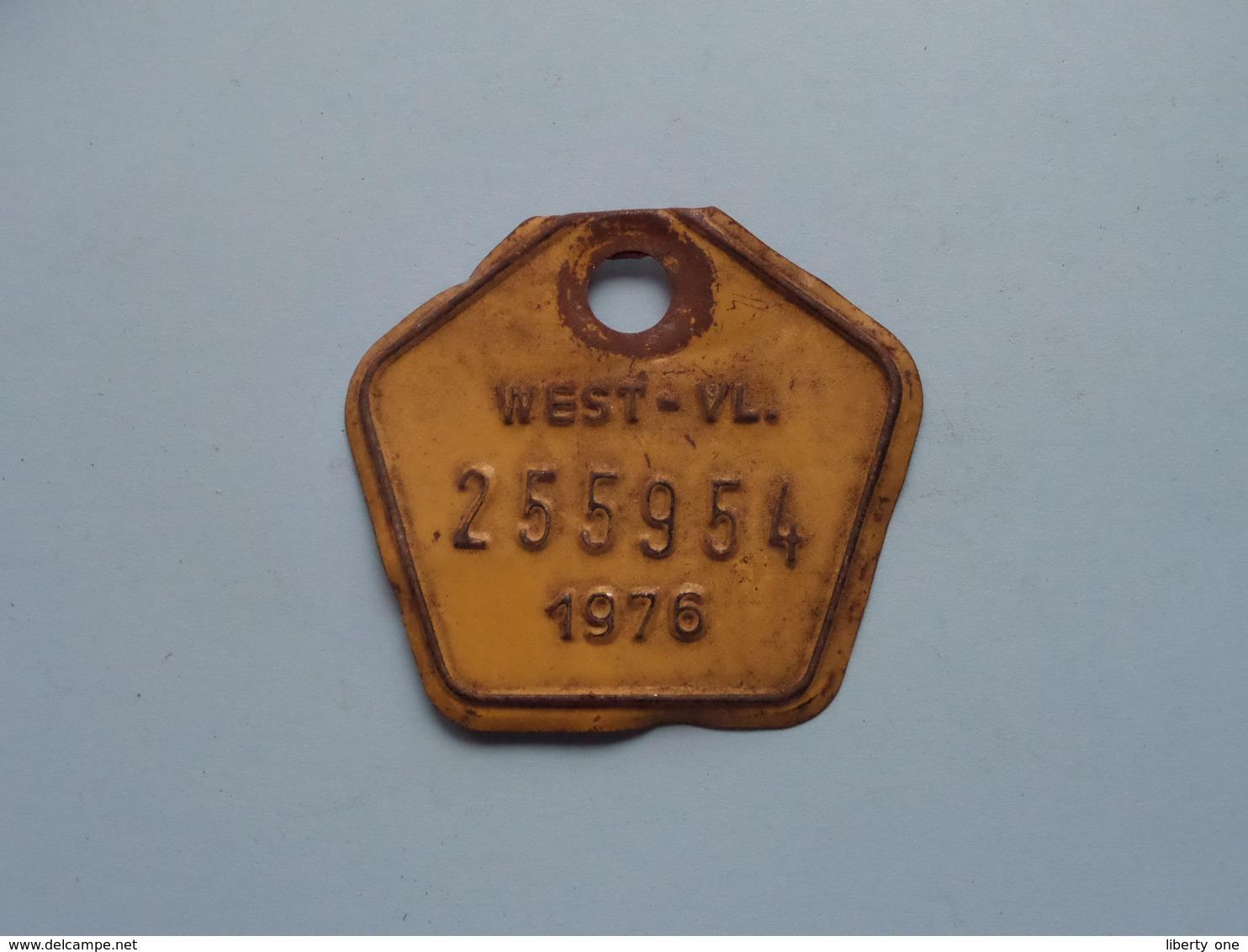 FIETSPLAAT / PLAQUE Vélo ( WEST - VLAANDEREN > N° 255954 ) Anno 1976 ( België ) ! - Kennzeichen & Nummernschilder