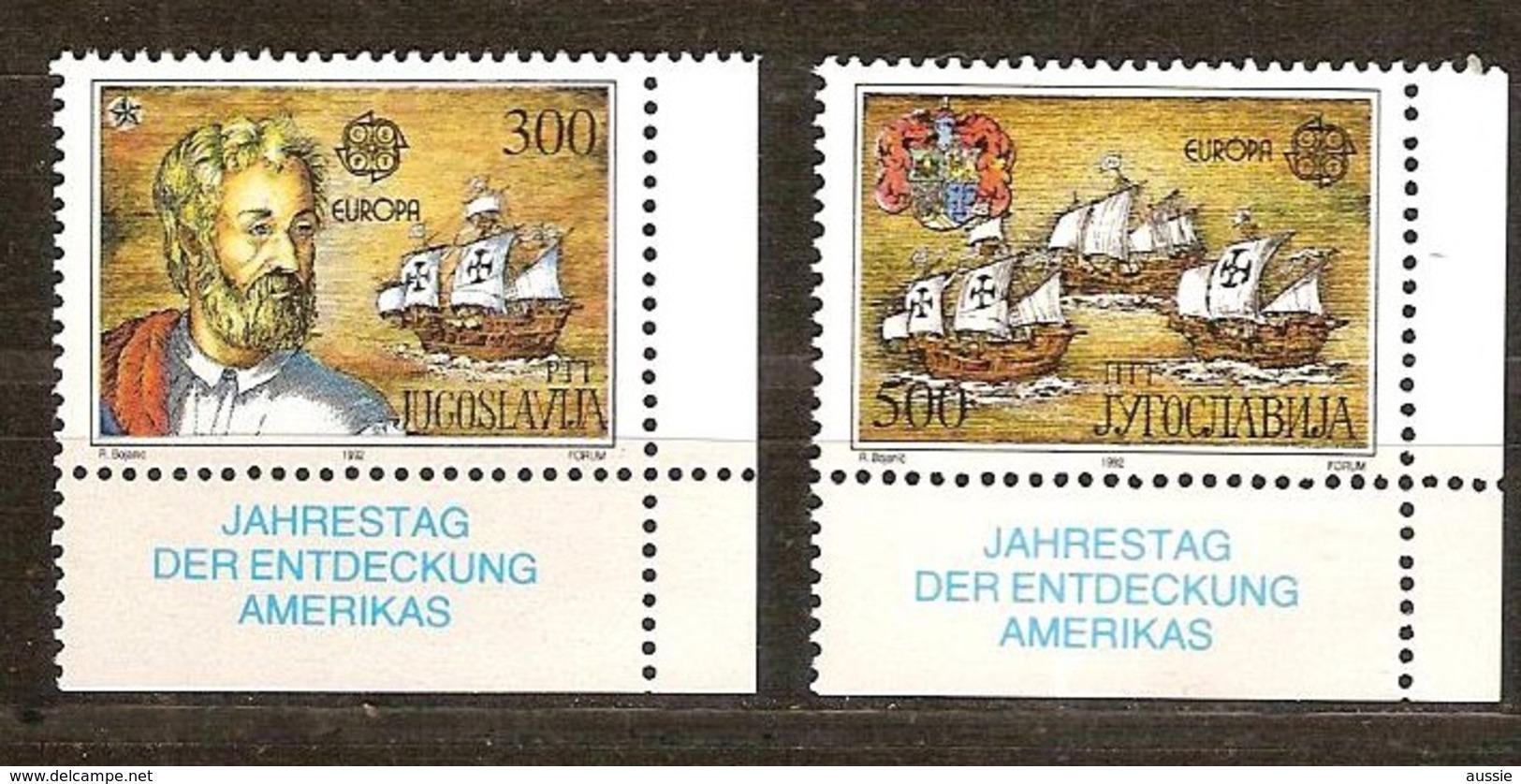 Cept 1992 Joegoslavie Yougoslavie Yvert N° 2397-98 *** MNH Neuf Cote 9 Euro - 1992