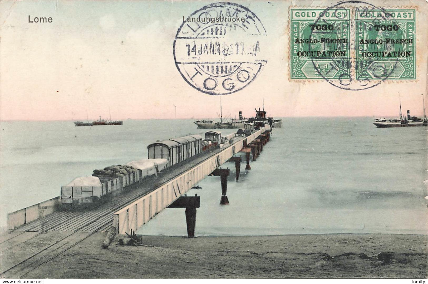Togo Lome Landungsbrucke Pont Voie Ferrée Bateau Train Marchandises + Timbre Surchargé Togo Anglo French Occupation - Togo