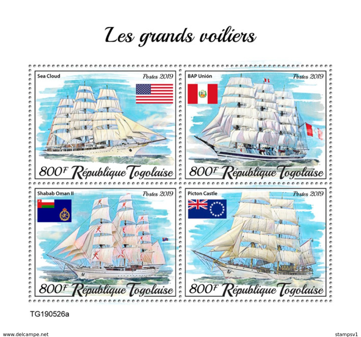 Togo. 2019 Tall Ships. (0526a)  OFFICIAL ISSUE - Schiffe