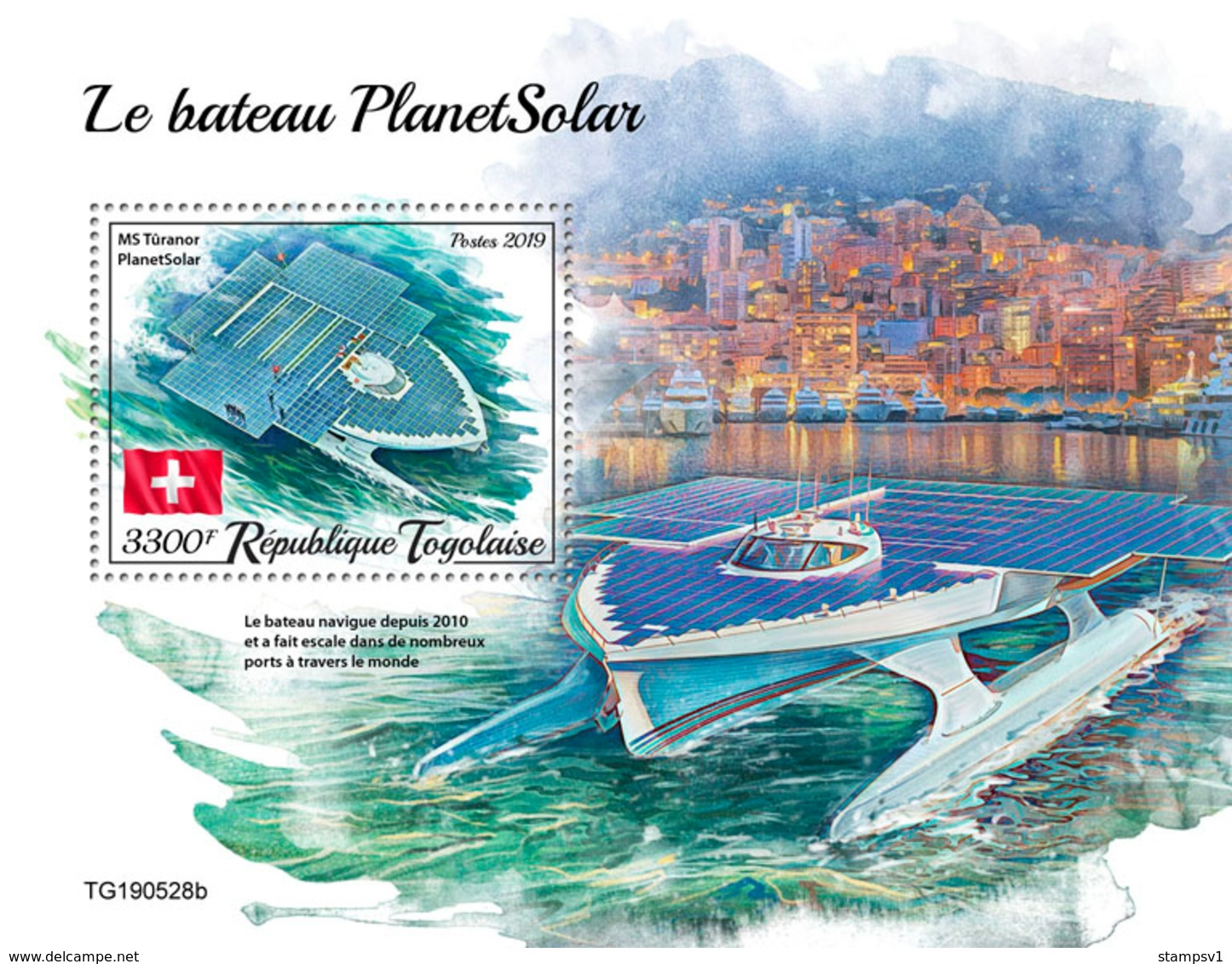 Togo. 2019 PlanetSolar Boat. (0528b)  OFFICIAL ISSUE - Schiffe