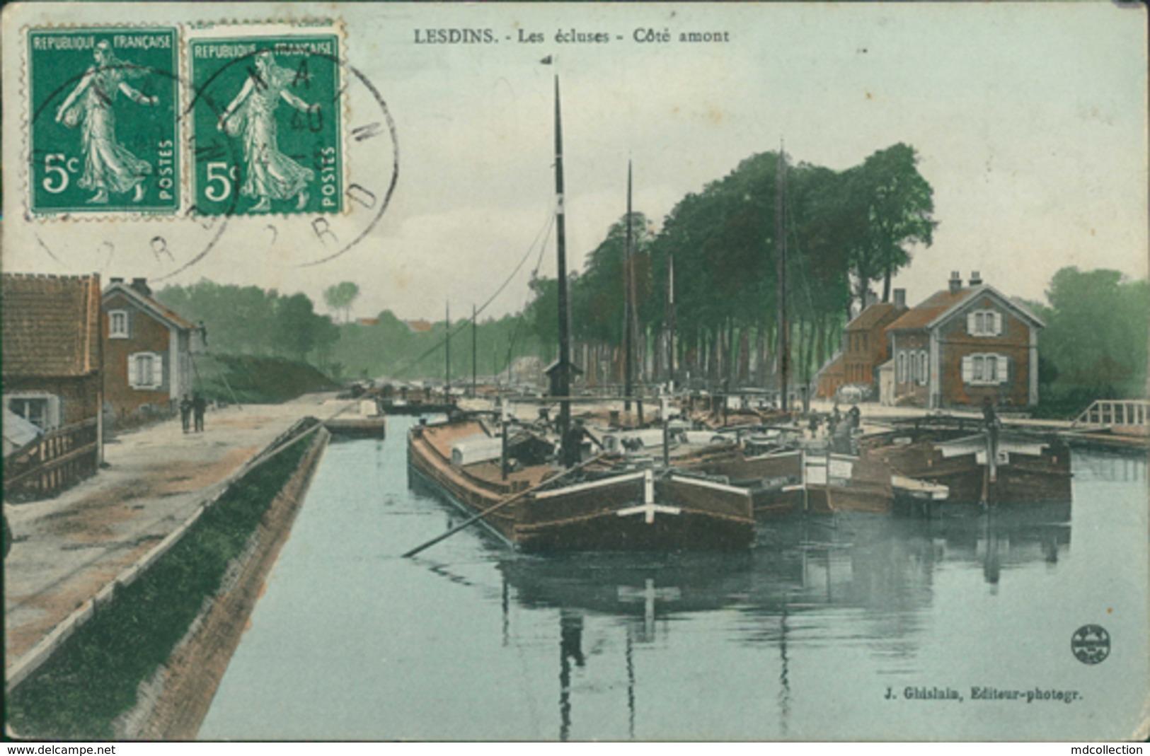 02 LESDINS / Les Ecluses Cote Amont / Carte Couleur J. Ghislain éditeur - Autres Communes