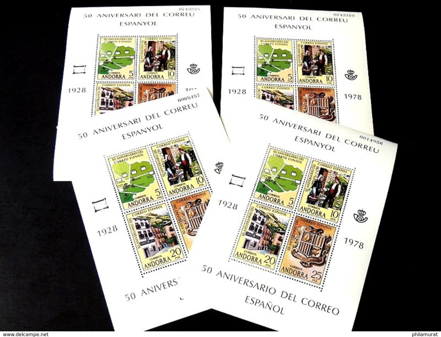Andorre Espagnol 1978/1991 : 2600 Timbres ** En Feuilles Ou Blocs COTE 2000 € - Neufs